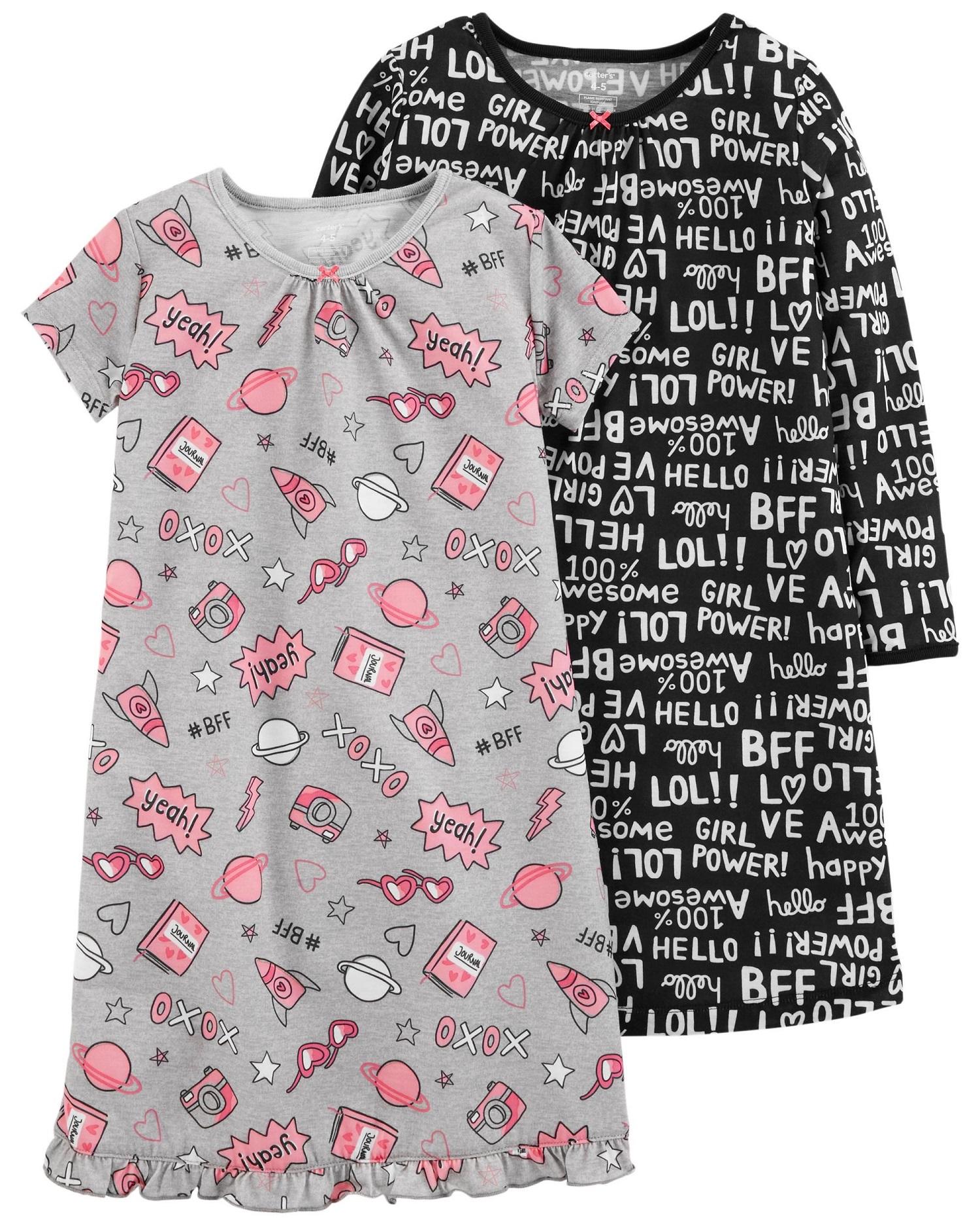 Carter\'s Big Girls\' 2-Pack Graphic Sleep Gowns, 8-10 Kids ...