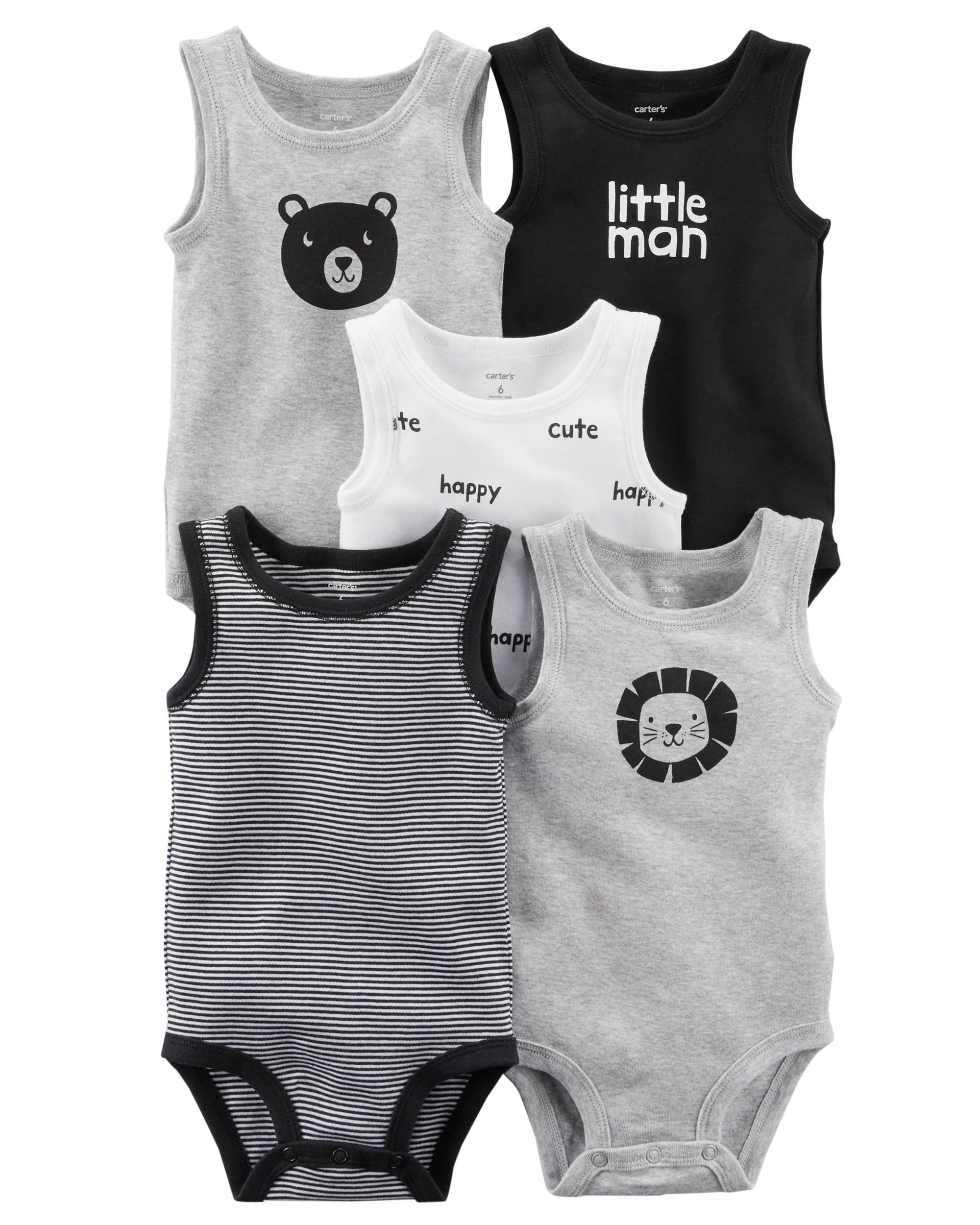 c1a6522d1 Carter's 5-Pack Tank Top Original Bodysuits- Little Man- Newborn ...