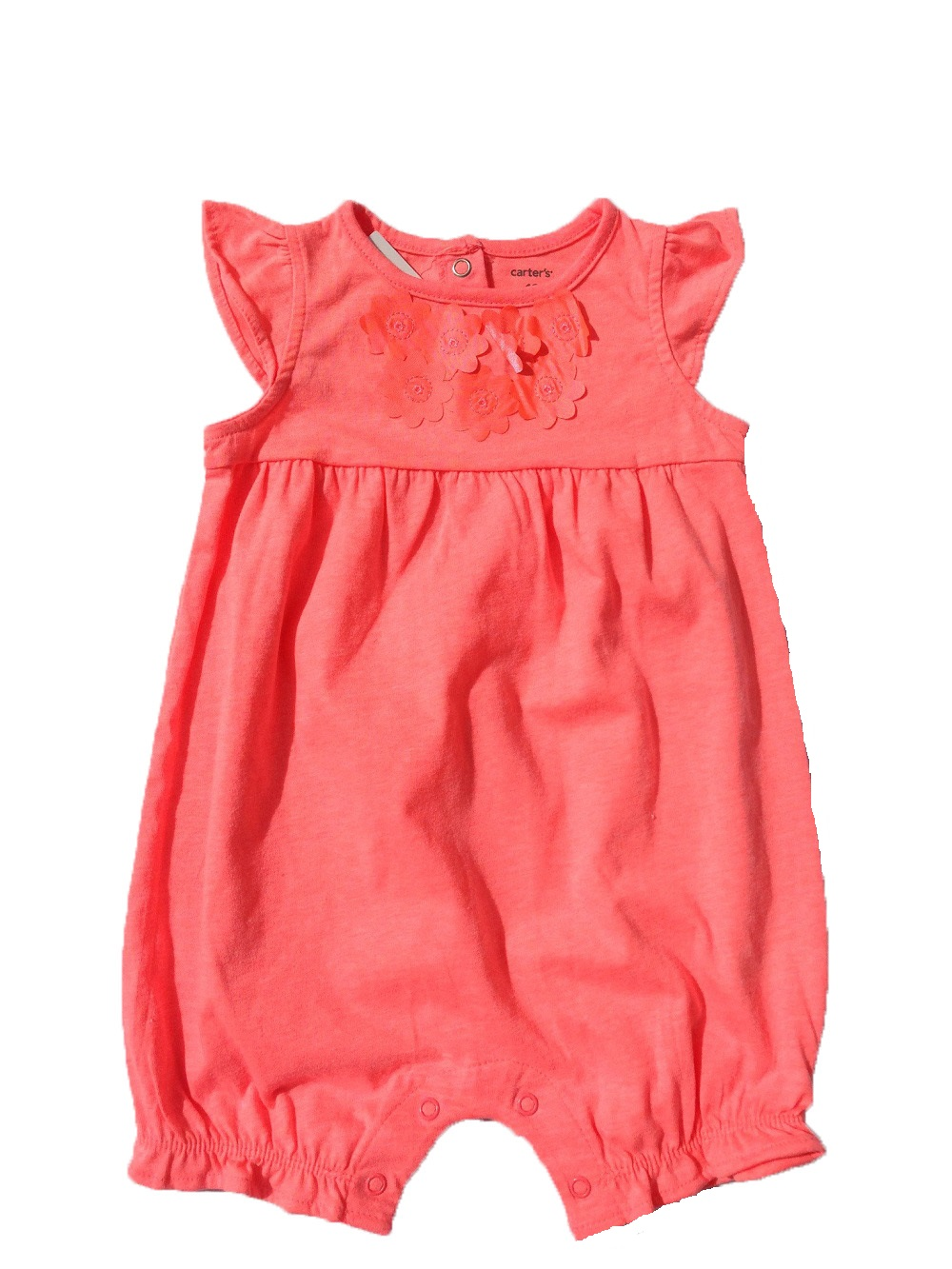 f9c2beba96e6 Carter s Baby Girls  Neon Orange Romper with Flower Applique (24 ...