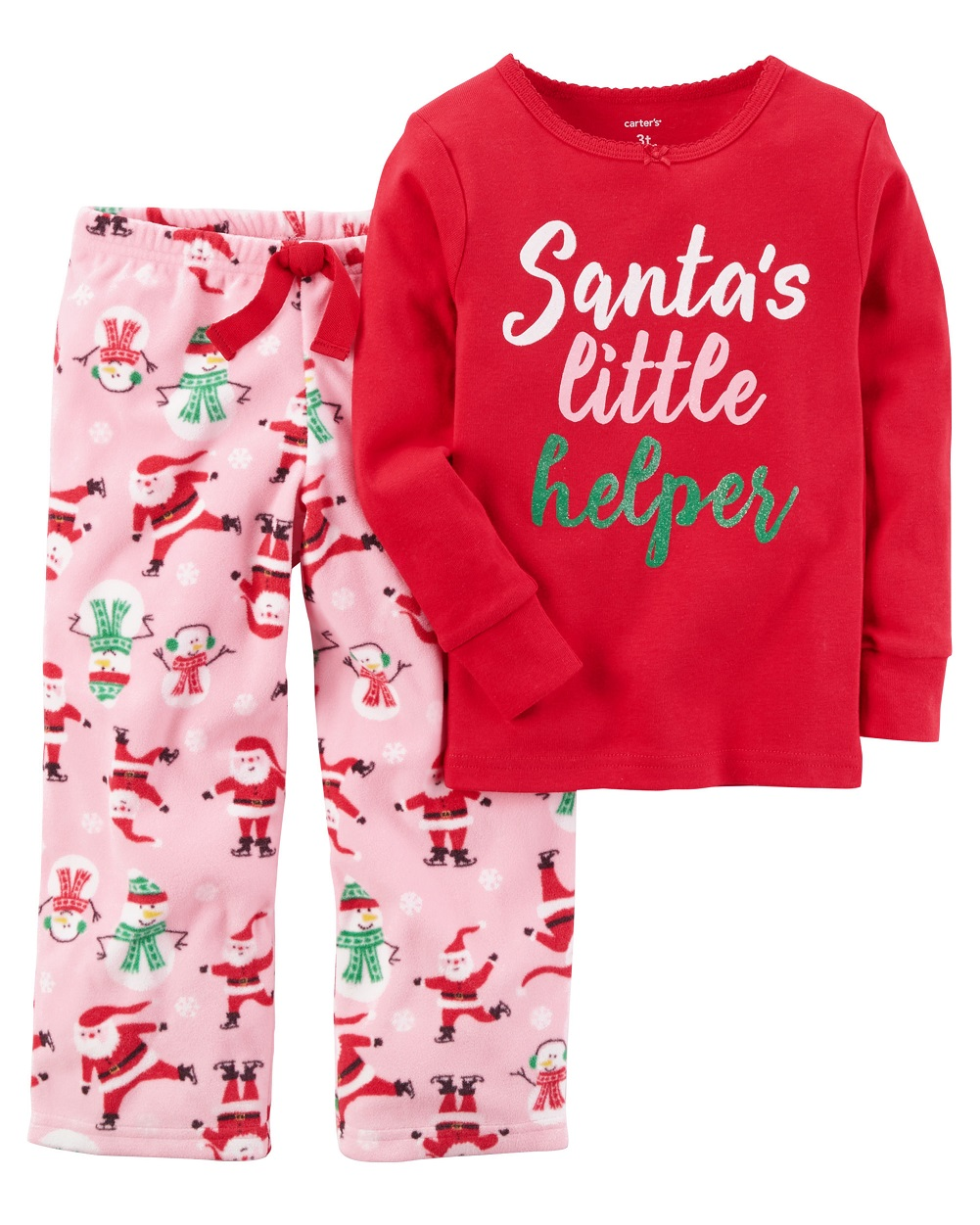 03ec6211af19 Carter s Baby Girls  2-Piece Holiday Cotton Fleece PJs