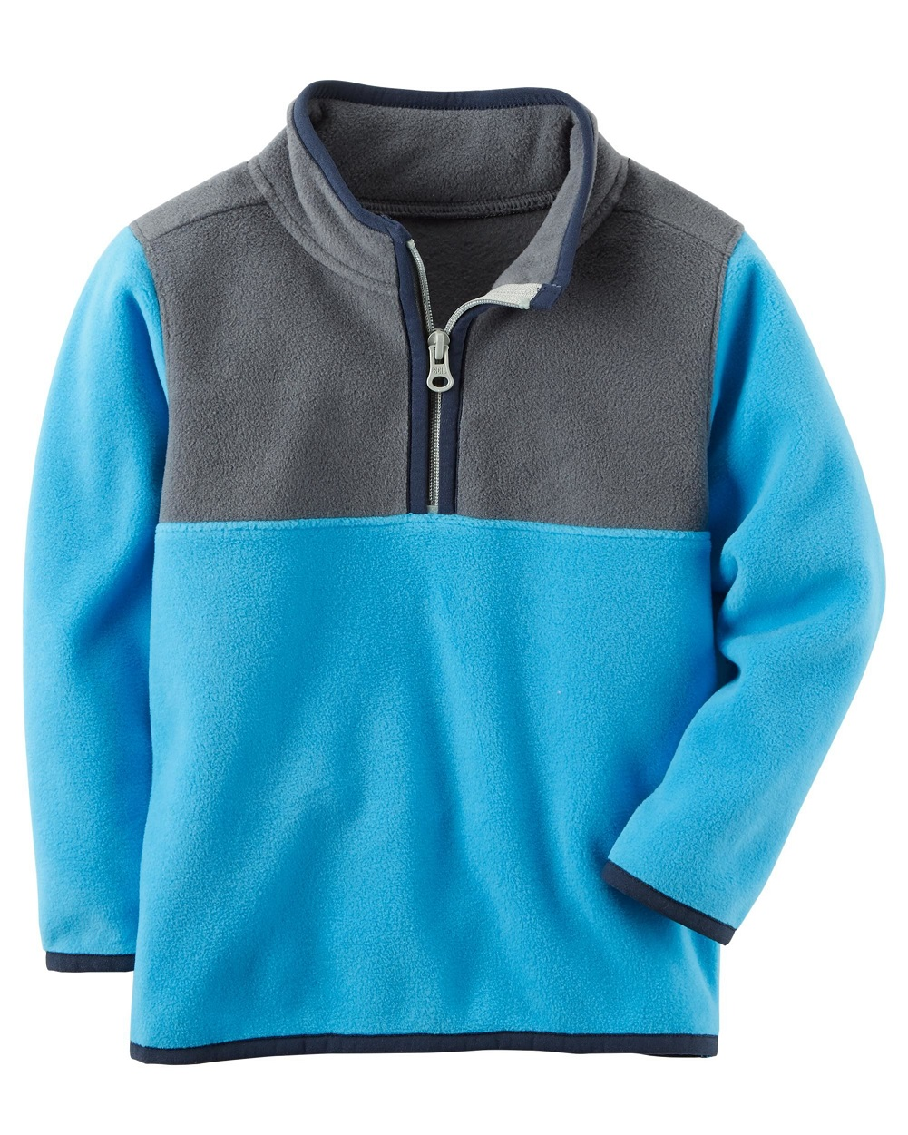 5edfe35a22c Carter's Baby Boys' Quarter Zip Fleece Pullover; Blue/Grey/Navy, 6 Months