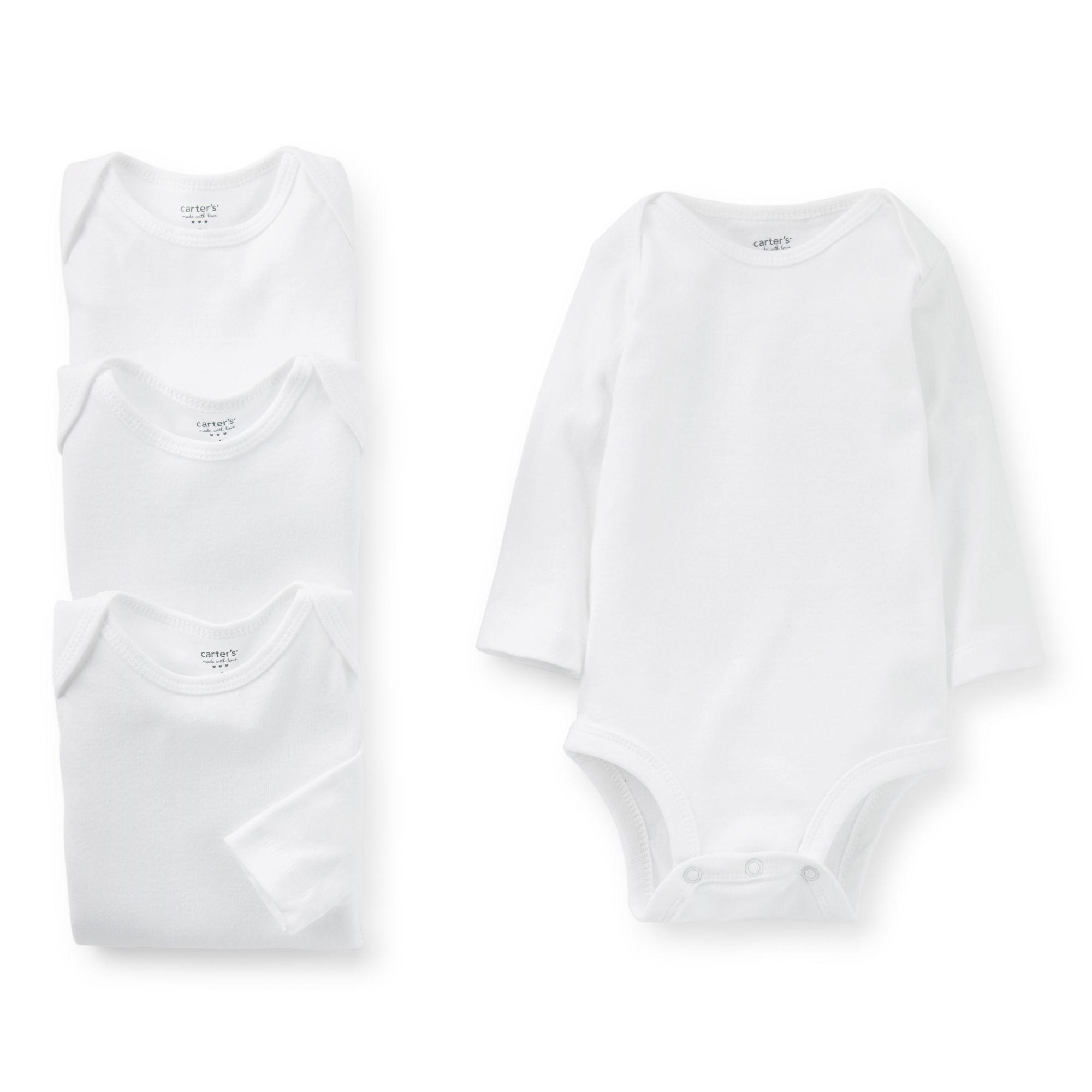 2a3b298d6 Carter's Unisex Baby White 4 Pack Long Sleeve Bodysuits - Newborn ...