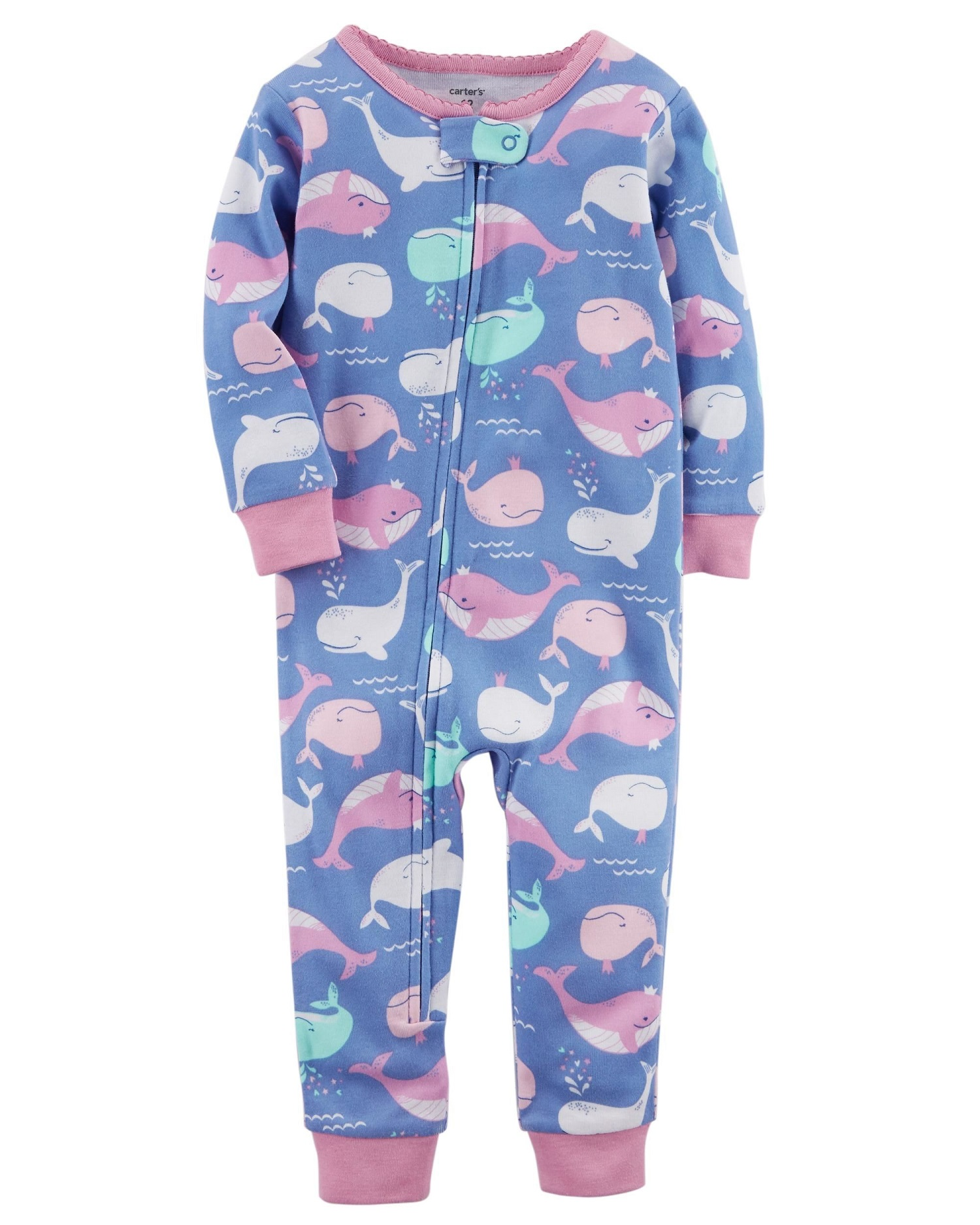 b8286edaf Carter s Little Girls  1-Piece Whale Snug Fit Cotton Footless PJs