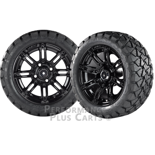 """Illusion 14"""" Black with Colored Inserts Golf Cart Wheels ..."""