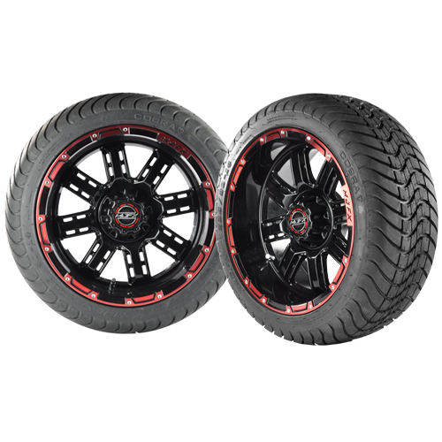 transformer 14 black and red golf cart wheels with low profile street tires x4 ebay. Black Bedroom Furniture Sets. Home Design Ideas