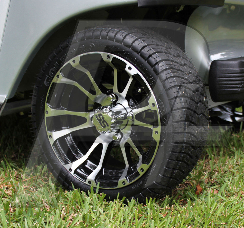 golf cart tire and wheel combo 12x7 ss wheels with low profile tires tw1 ebay. Black Bedroom Furniture Sets. Home Design Ideas