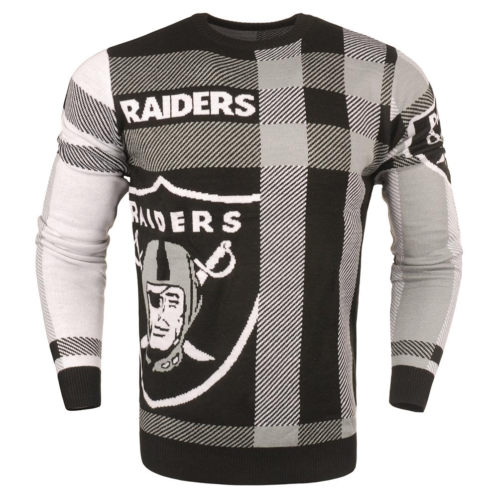 d211b198da Oakland Raiders Men s Plaid Crew Neck NFL Ugly Sweater Large