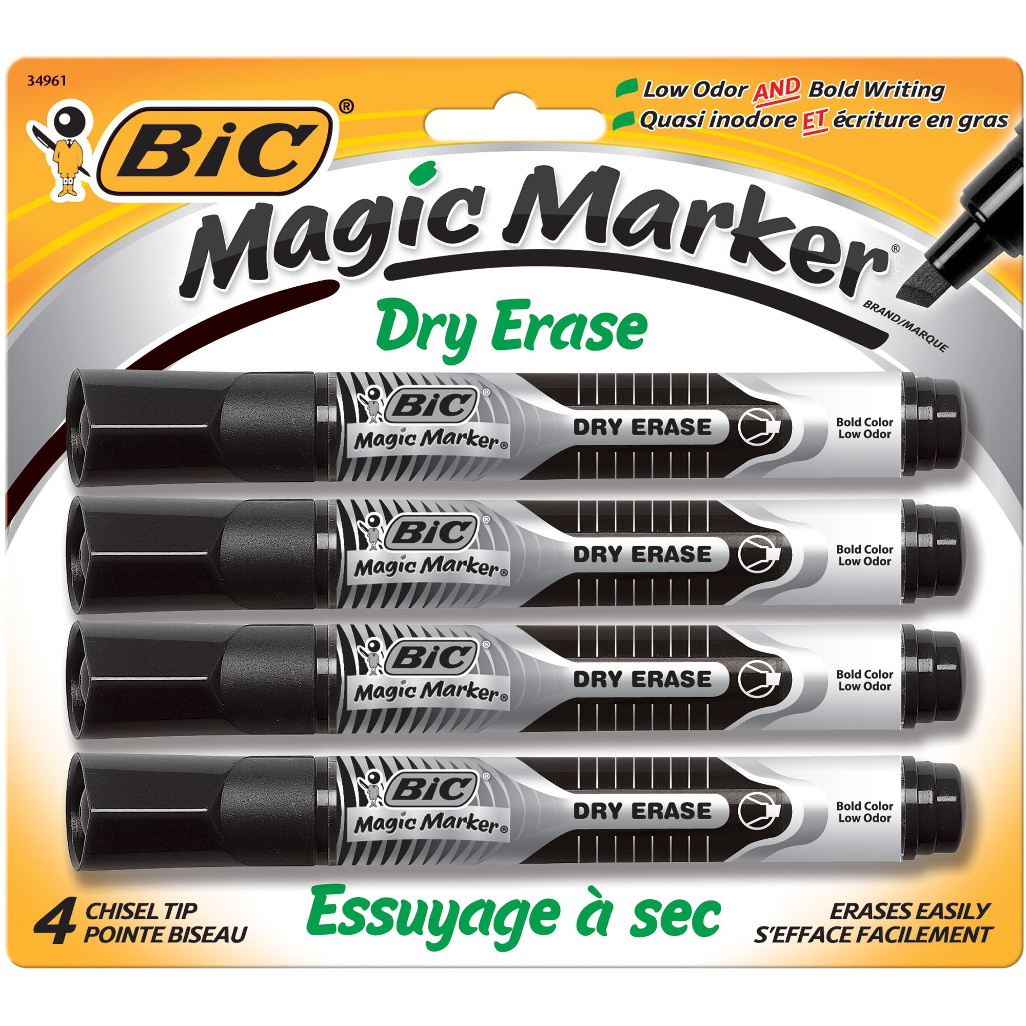 Details About Bic Magic Marker Brand Dry Erase Marker Chisel Tip Black 4 Pack