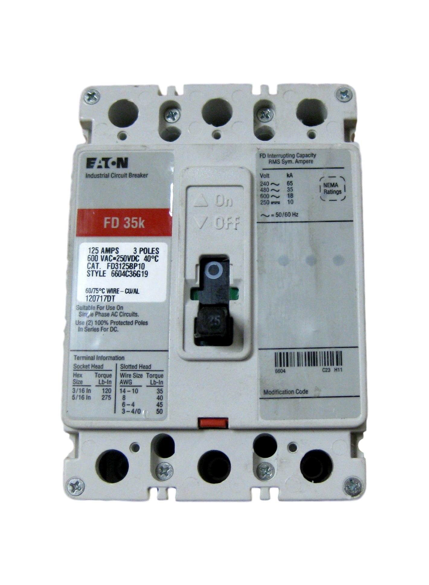 Eaton Cutler Hammer 125A CIRCUIT BREAKER FD35K FD3125BP10 6604C36G19 ...