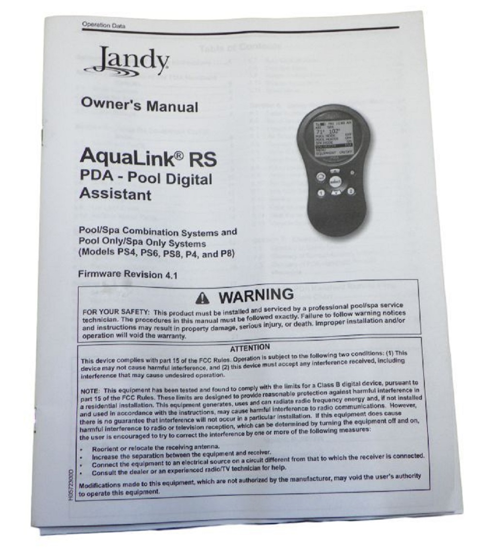 jandy aqualink rs pda owner s manual firmware revision 4 1 rh ebay com jandy aqualink rs owner's manual aqualink rs4 owners manual pdf