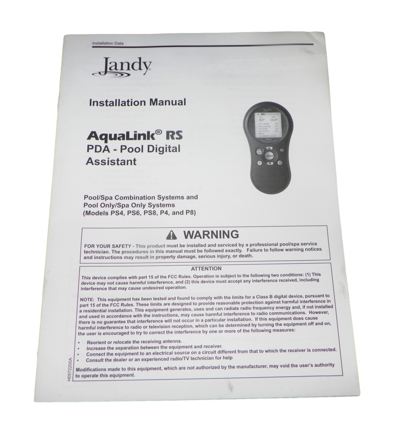 Jandy Actuator Wiring Diagram Library Aqualink Control Panel Rs Pda Pool Digital Assistant Installation Manual
