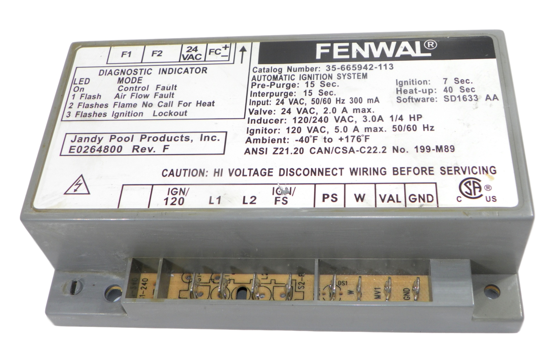 Fenwal Jandy R0456900 35 665942 113 Ignition Control E0264800 Revf 120vac Disconnect Wiring Responsive Image