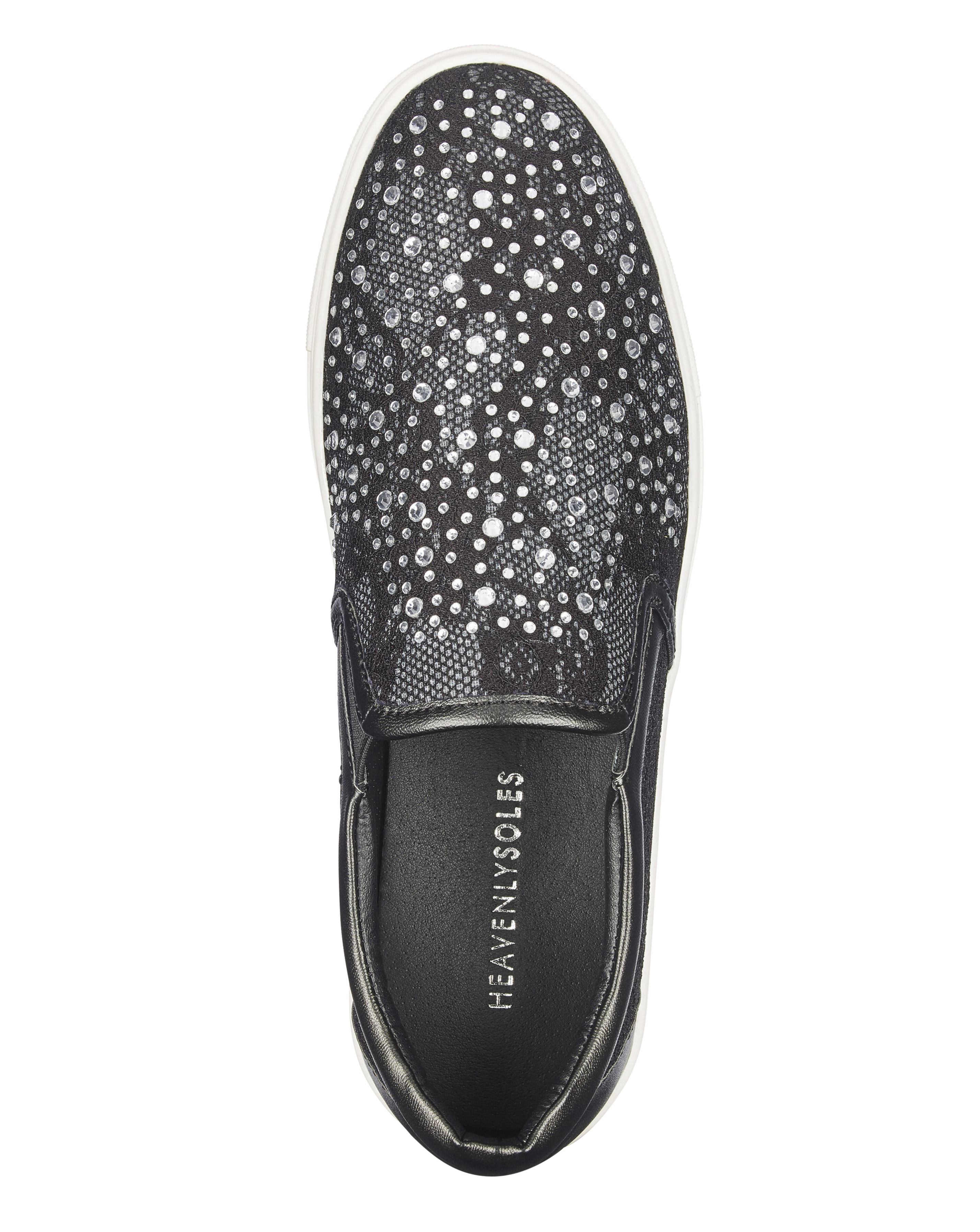 Womens-Shoes-Slip-On-Heavenly-Soles-Diamante-Lace-Trainers-Leisure-JD-Williams thumbnail 4