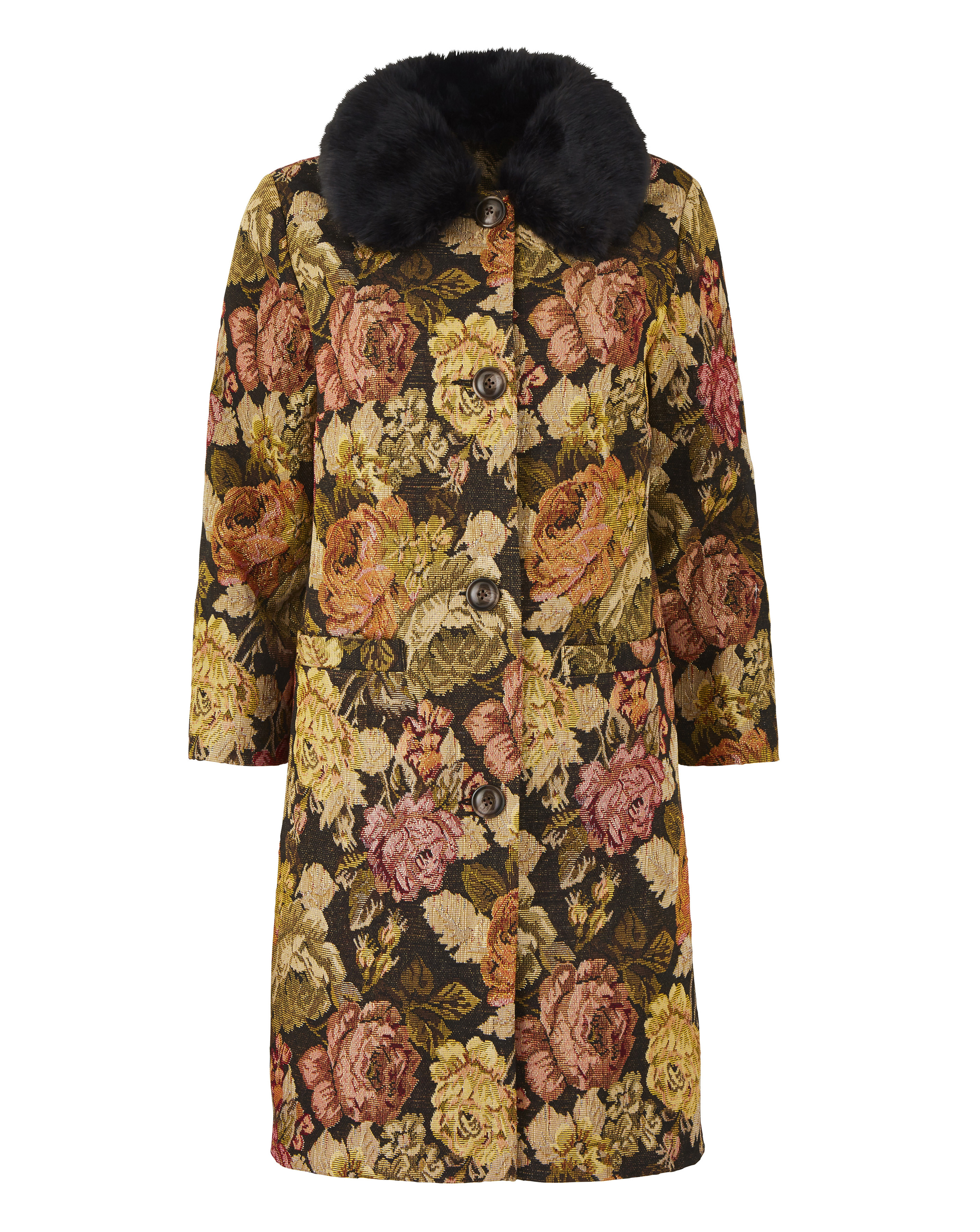 d293c23664eb Womens Tapestry Coat With Faux Fur Collar | eBay