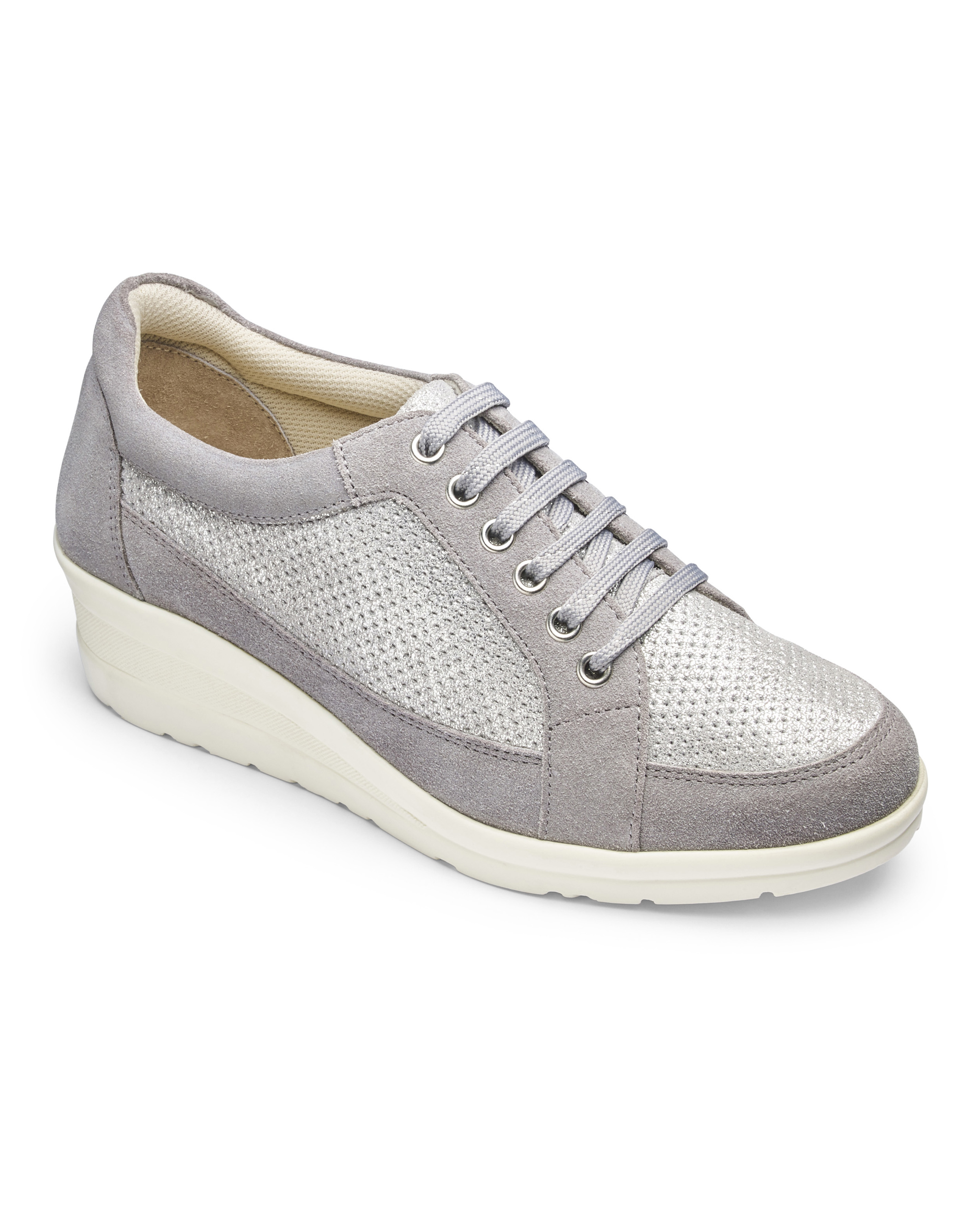 Womens-Trainers-Wedge-Heel-Soft-Leather-Lace-Up-Shoes-JD-Williams thumbnail 11