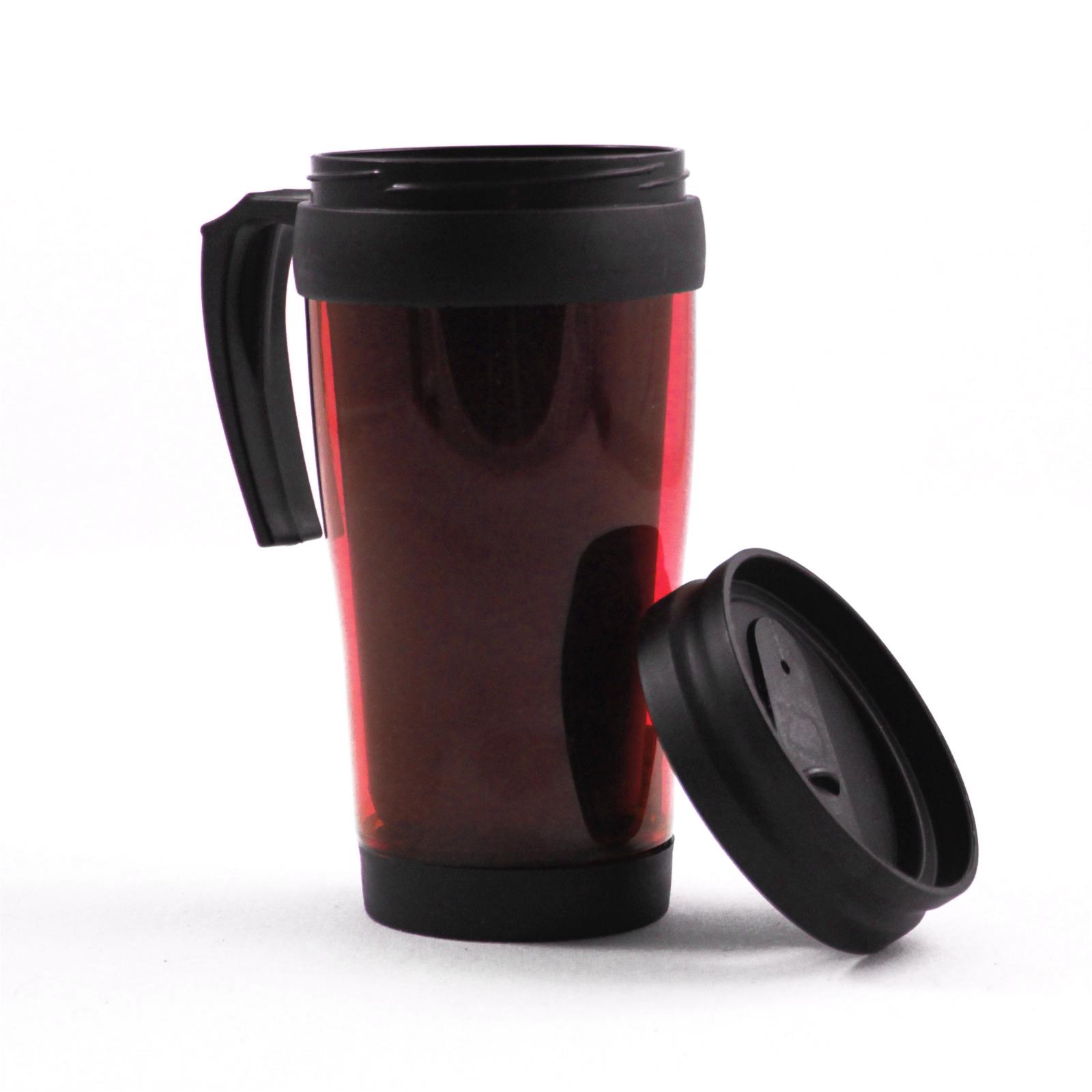 2pk Travel Mug Car Coffee Cup 16oz Beverage Holders 2 Red Mugs
