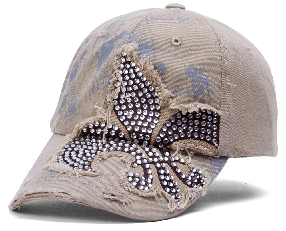 TopHeadwear-Beaded-Fleur-de-lis-Distressed-Adjustable-Baseball-Cap thumbnail 8
