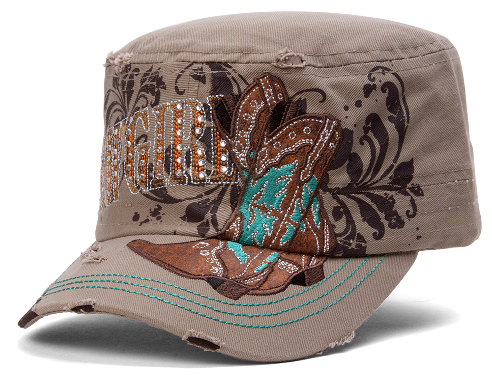 TopHeadwear-Cowgirl-Boots-Distressed-Cadet-Cap thumbnail 9