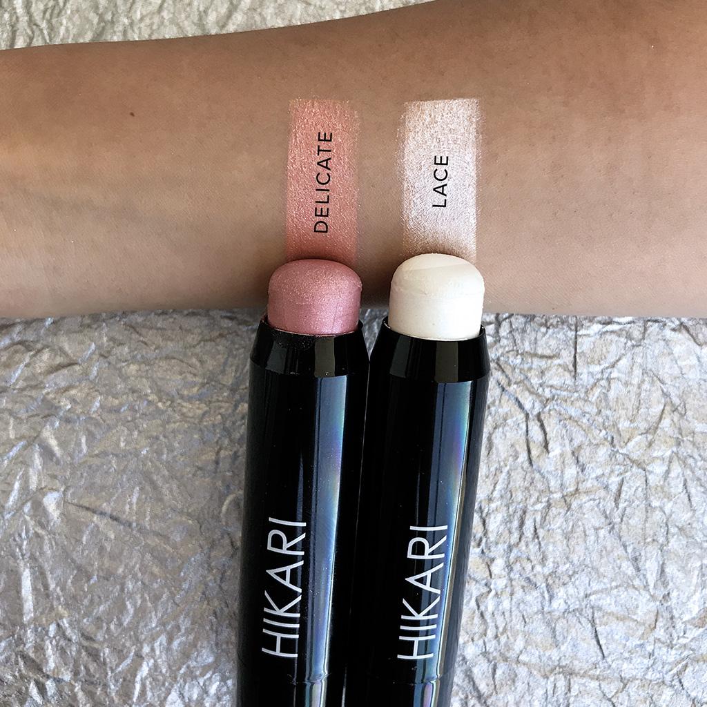 hikari lip & cheek stick swatches
