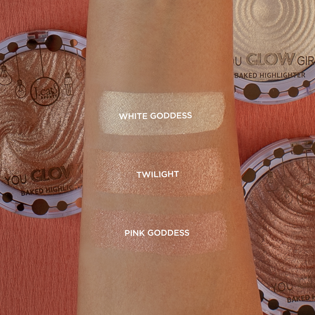 J.Cat Beauty You Glow Girl Baked Highlighter swatches 1