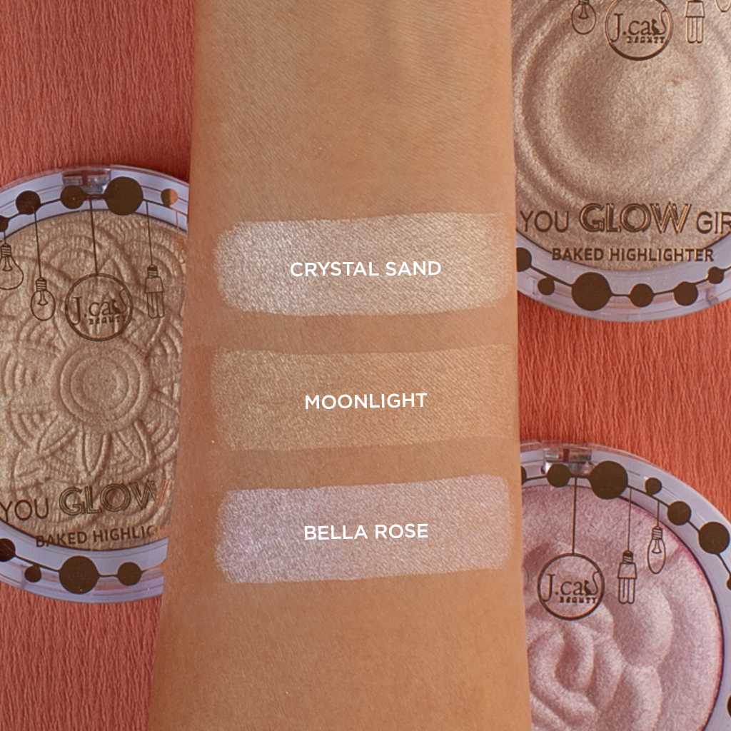 J.Cat Beauty You Glow Girl Baked Highlighter swatches 2