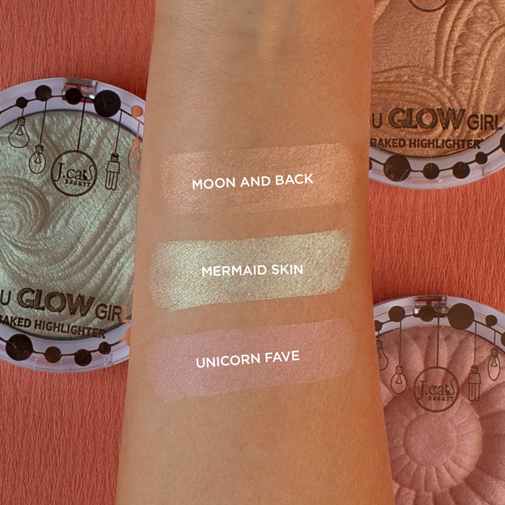 J.Cat Beauty You Glow Girl Baked Highlighter swatches 3