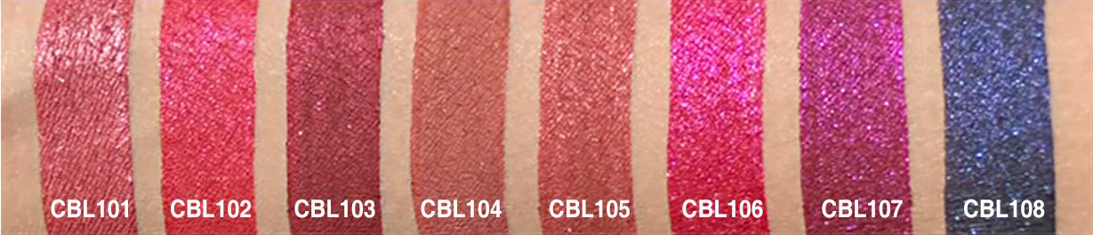 J.Cat Beauty Crystal Burst Lipstick - Swatches Before in Metallic colors