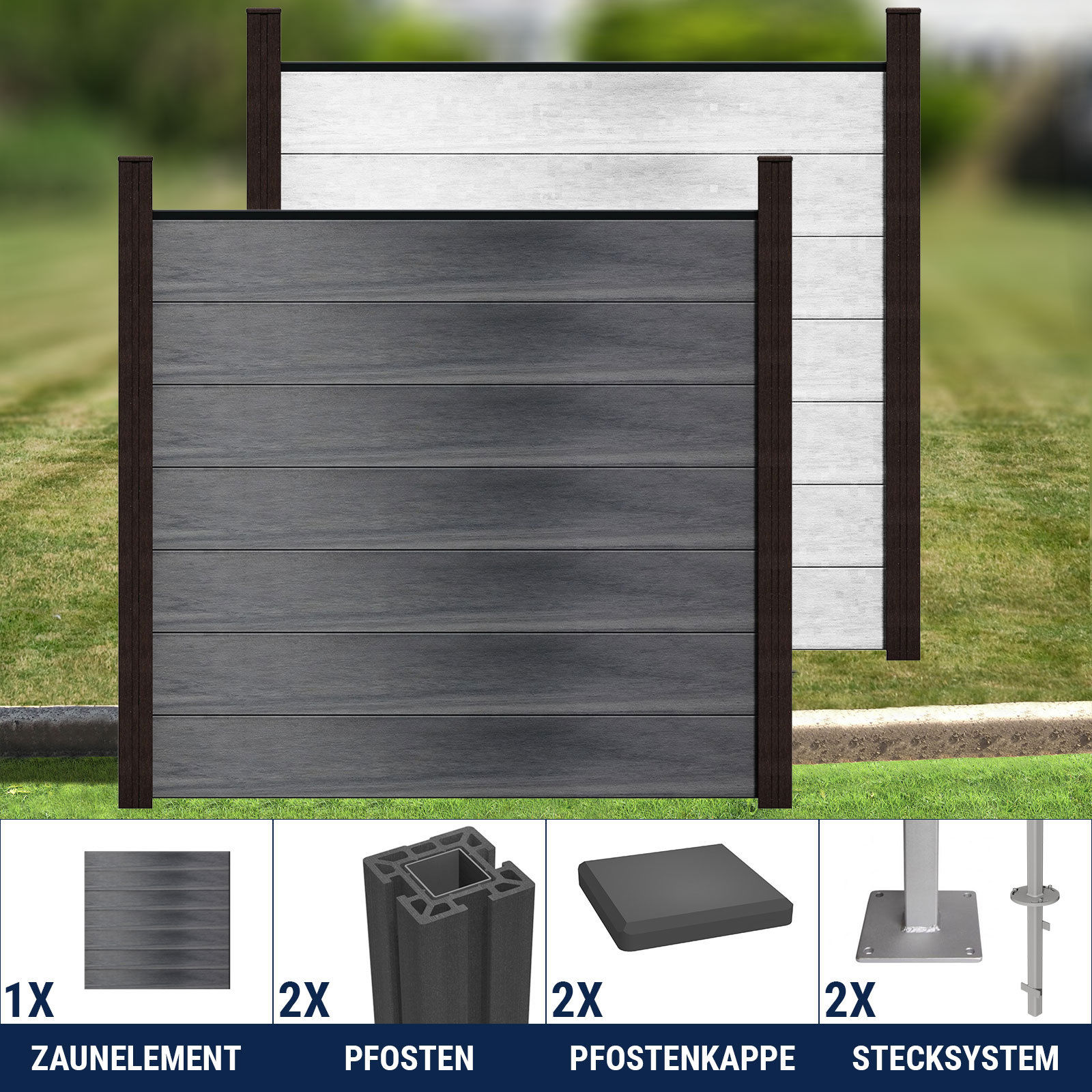 groja wpc zaun sichtschutz gartenzaun windschutzzaun terrasse grau 180 x 180 ebay. Black Bedroom Furniture Sets. Home Design Ideas