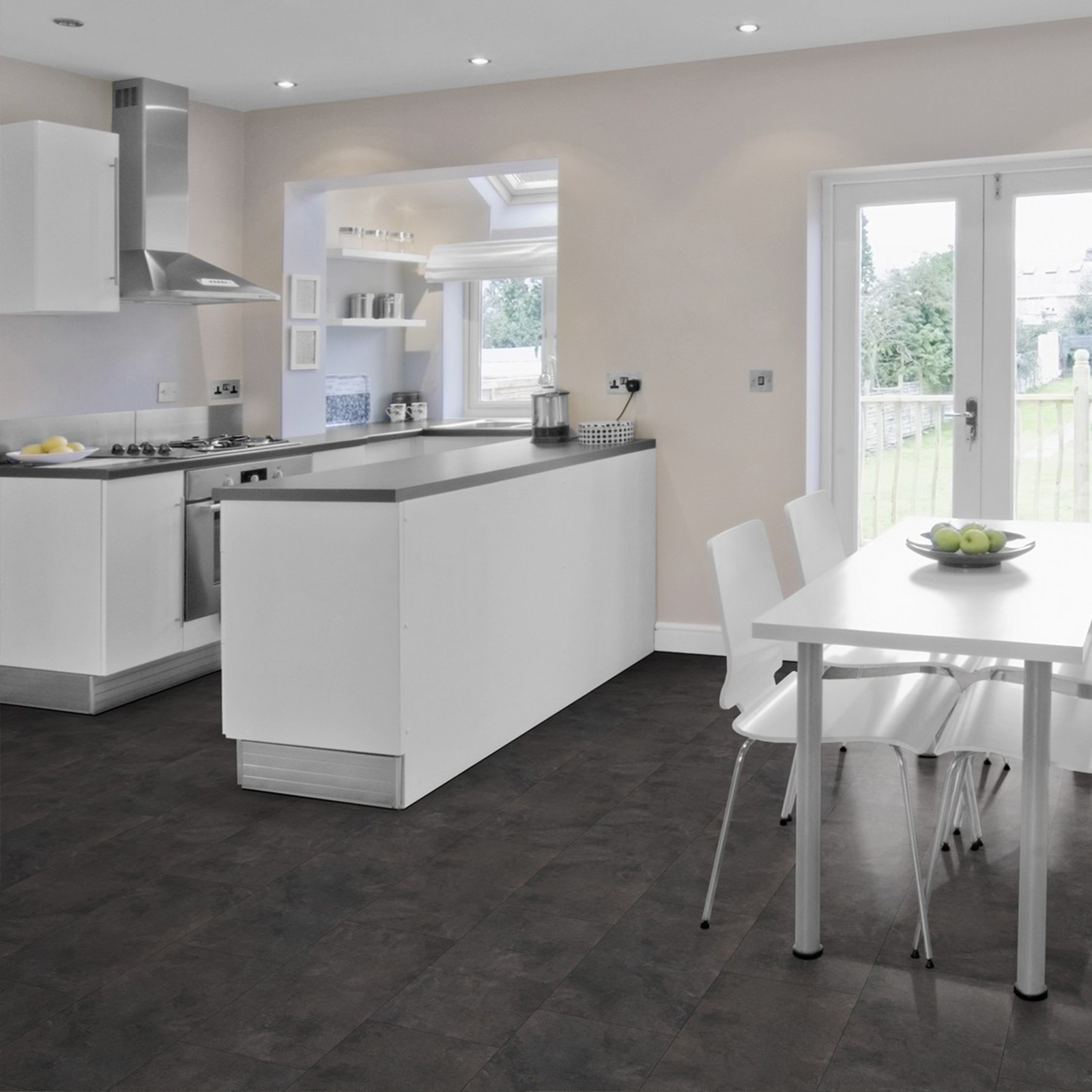 vinylboden pvc klick fliese bodenbelag steinoptik schiefer beton grau fuge ebay. Black Bedroom Furniture Sets. Home Design Ideas