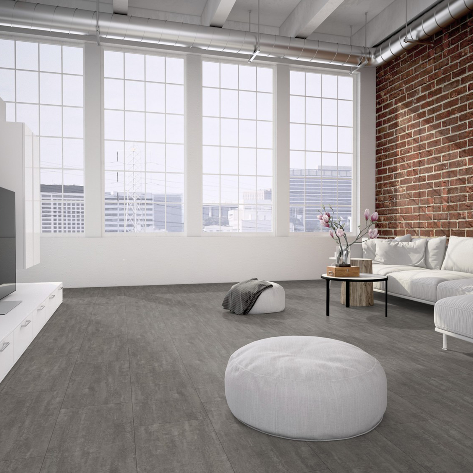 Bodenbelag Beton vinylboden pvc klick fliese bodenbelag steinoptik schiefer beton