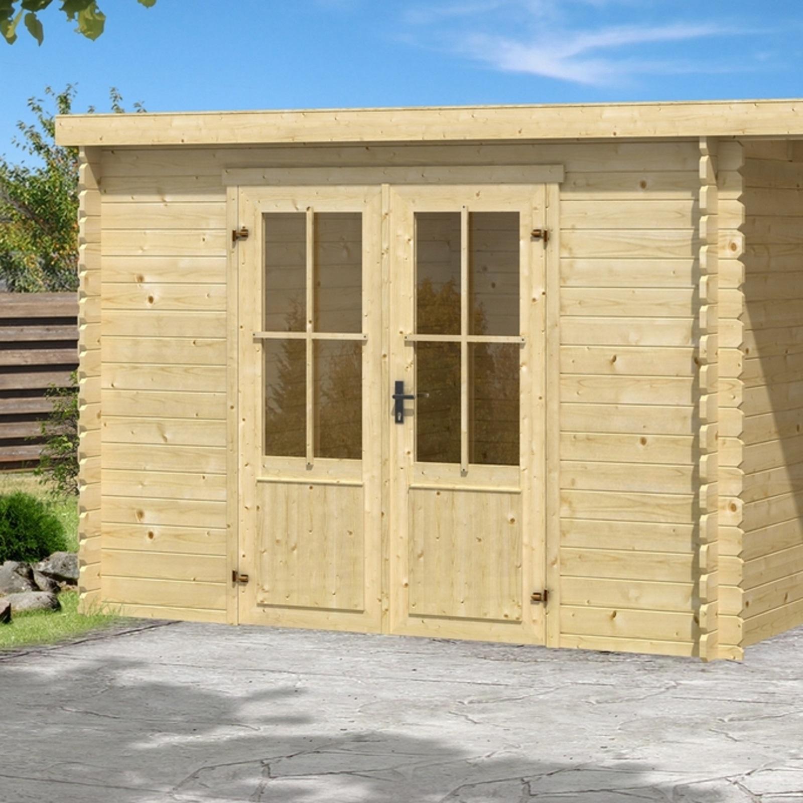 gartenhaus mit anbau ger tehaus blockhaus holzhaus holz schleppdach 28 mm ebay. Black Bedroom Furniture Sets. Home Design Ideas