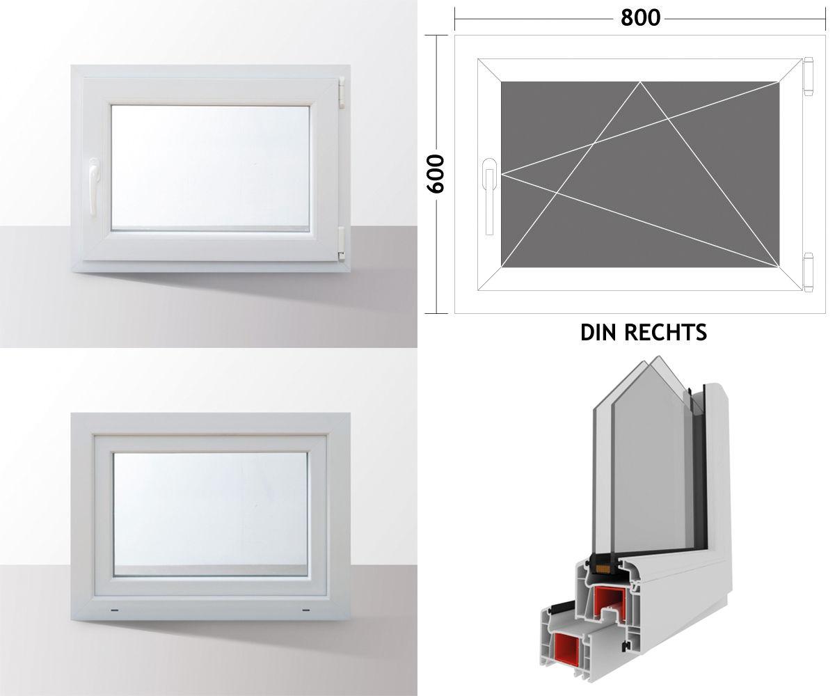 Fenster-Kunststofffenster-Kellerfenster-Dreh-Kipp-Fenster-2-fach-Verglast-weiss Indexbild 63