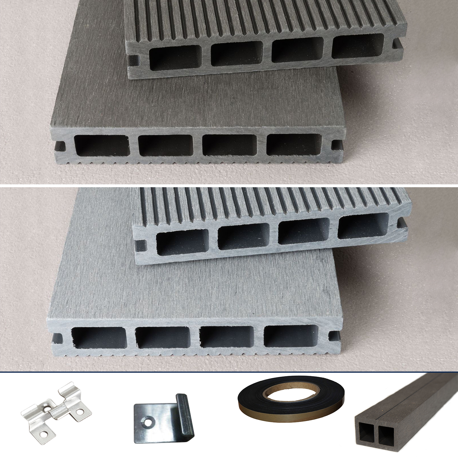 WPC-Terrassendielen-Terrassendiele-Komplettset-Komplettbausatz-Grau-Anthrazit