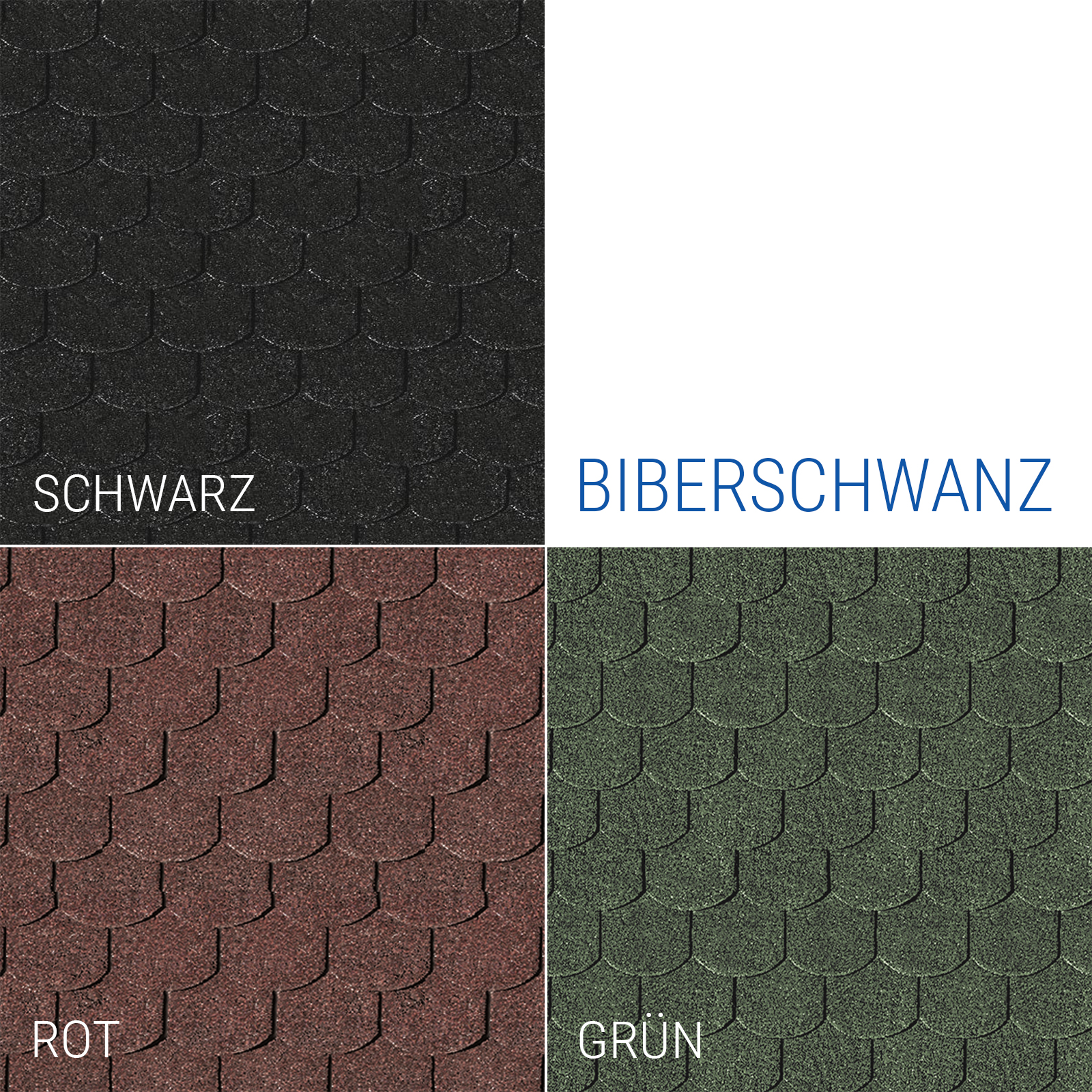 dachschindeln biberschwanz bitumen rot schwarz gr n. Black Bedroom Furniture Sets. Home Design Ideas