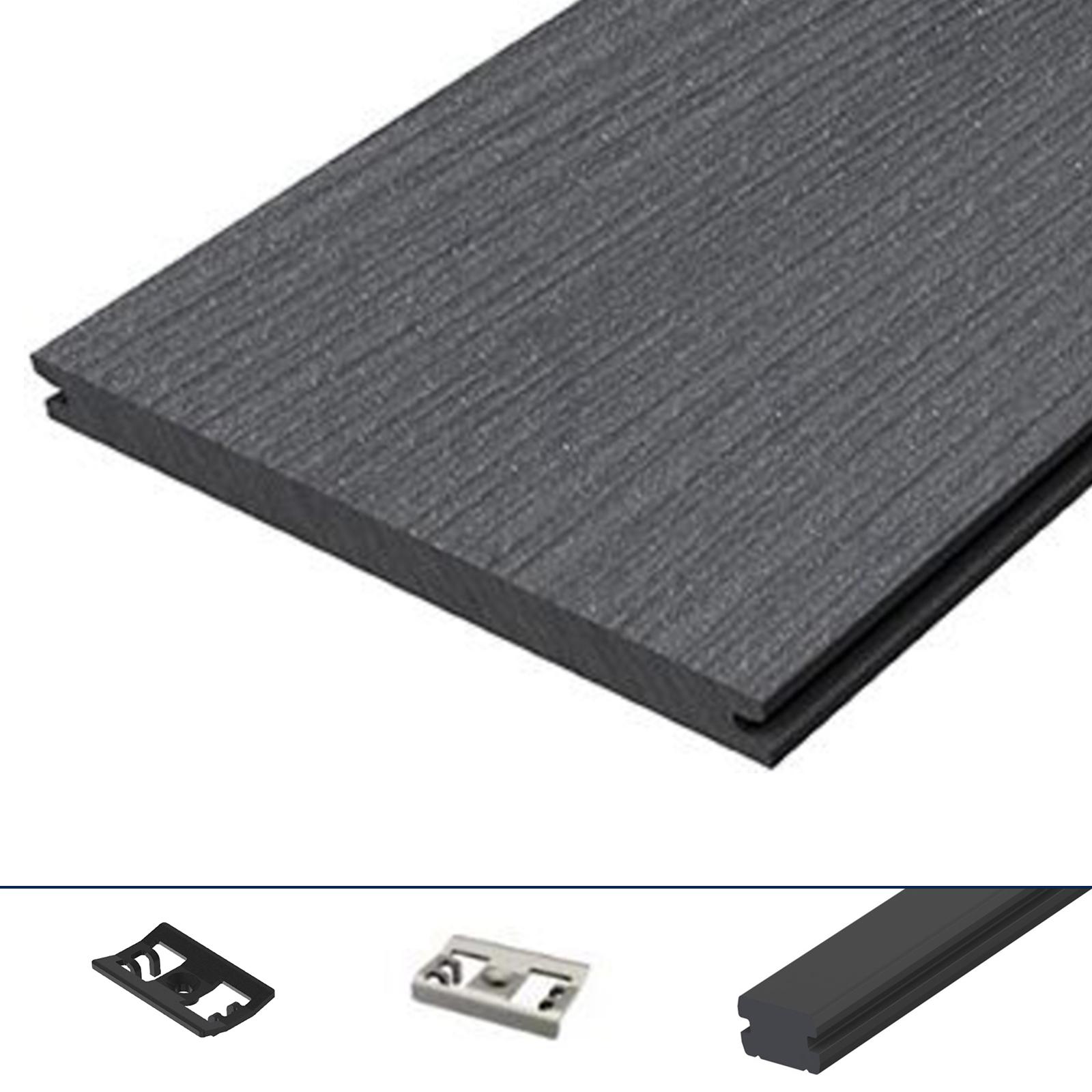 wpc terrassendiele xxl megawood massiv grau komplettset komplettbausatz 5 78 m ebay. Black Bedroom Furniture Sets. Home Design Ideas