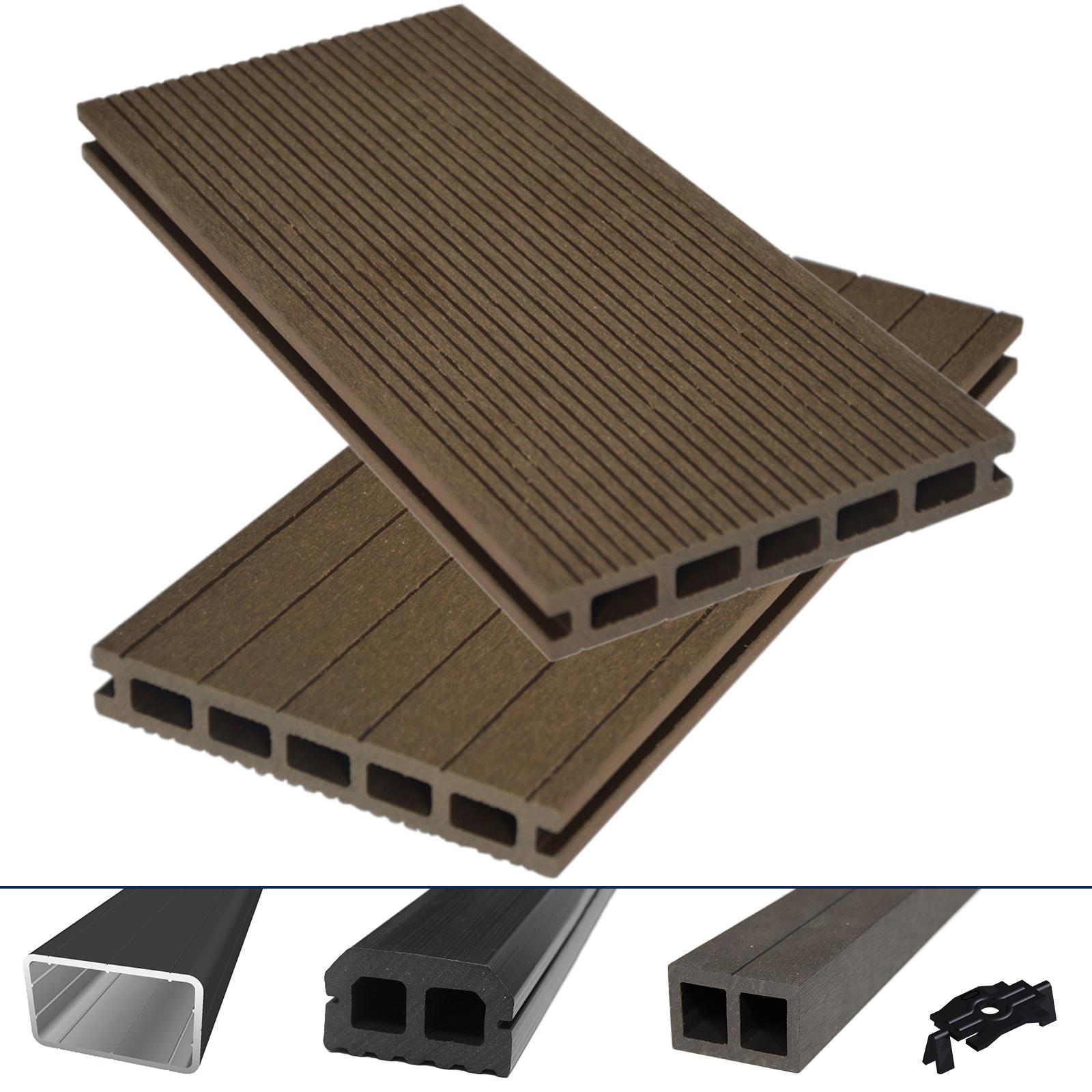 wpc bpc terrassendiele hori hohlkammer braun komplettset komplettbausatz 5 78 m ebay. Black Bedroom Furniture Sets. Home Design Ideas