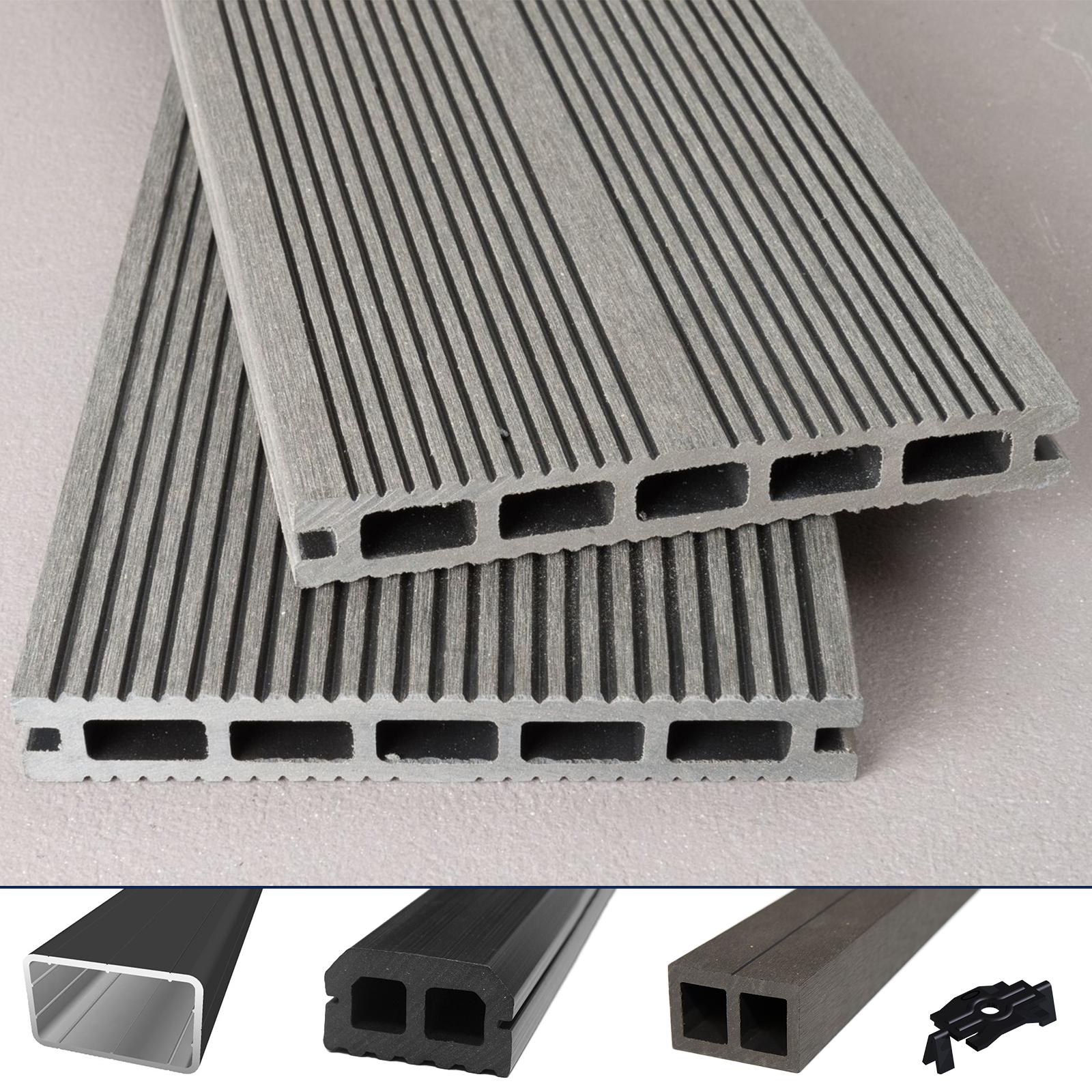 WPC-Terrassendiele-Hohlkammer-Hawai-grau-Komplettset-Komplettbausatz-5-100-m