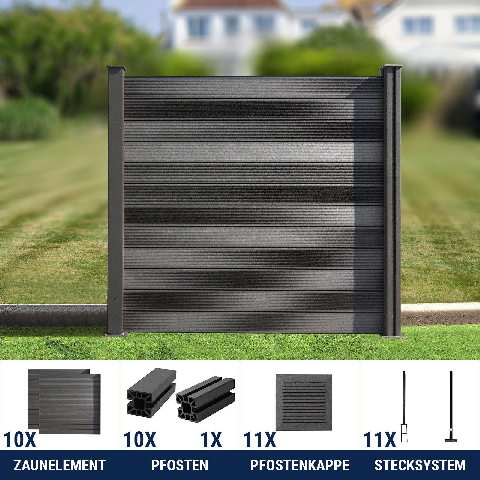 wpc zaun sichtschutzzaun lamellenzaun gartenzaun terrasse grau anthrazit 180 cm ebay. Black Bedroom Furniture Sets. Home Design Ideas