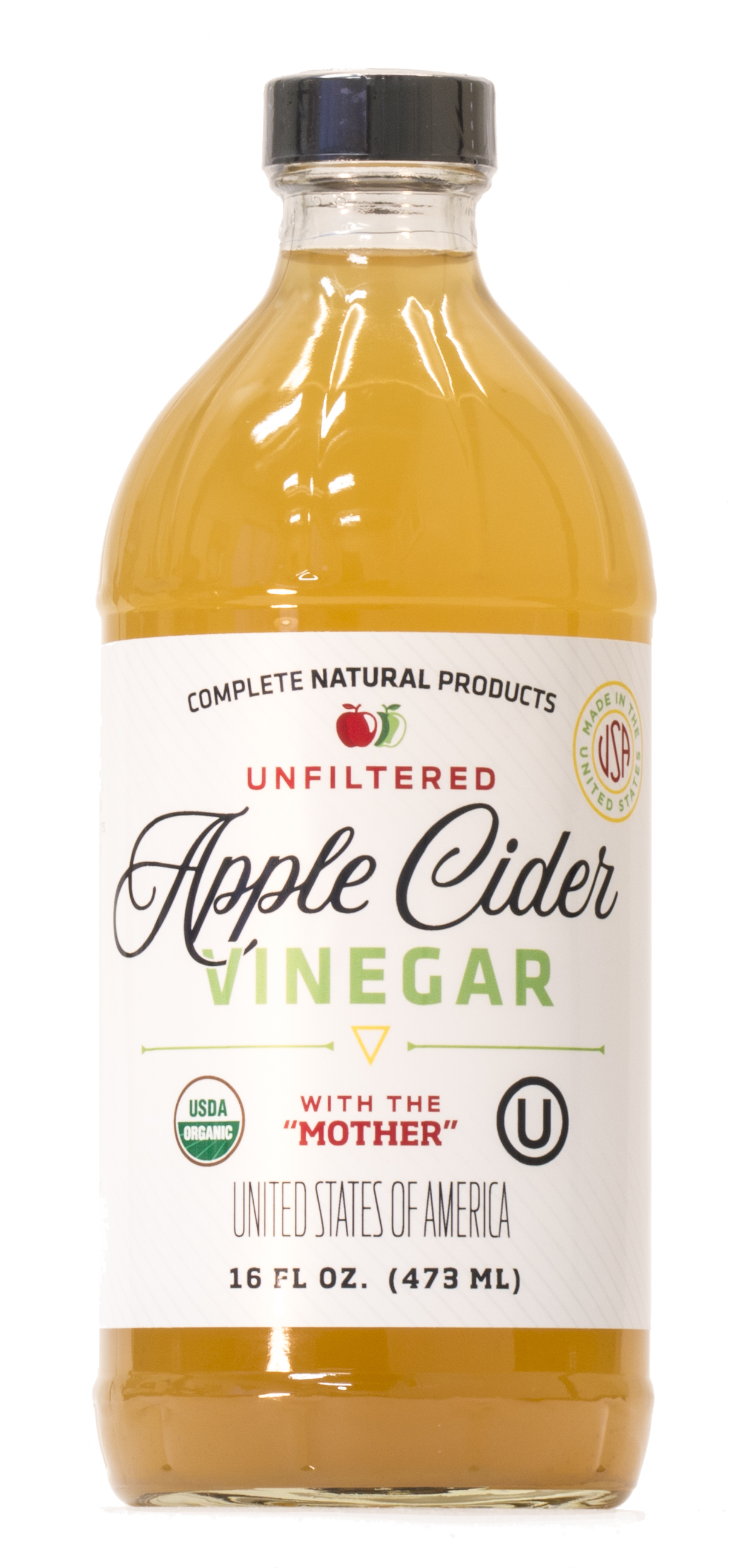 Details about Apple Cider Vinegar 16oz - Unfiltered, Kosher, USDA Organic  with The Mother