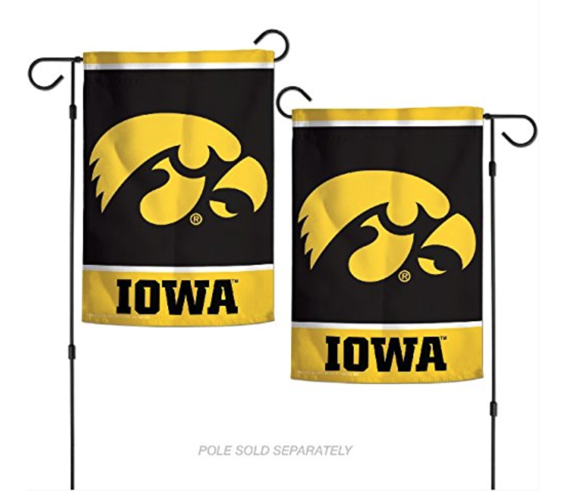 NCAA Iowa Hawkeyes 2-Sided Nylon 12x18 inch Garden Flag/Banner NEW