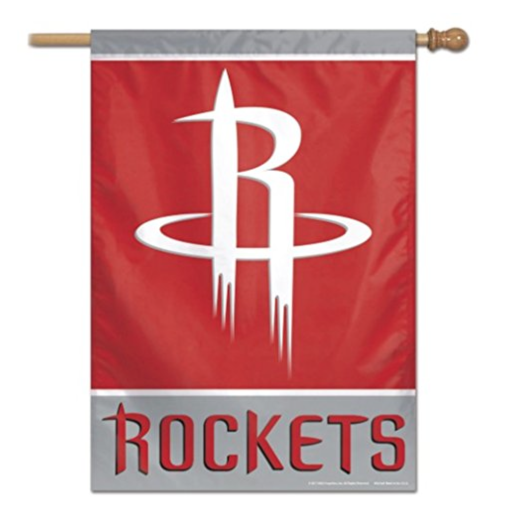 23106cb0661 NBA Houston Rockets 28x40 inch 2 Sided Logo Vertical Flag Banner NEW ...
