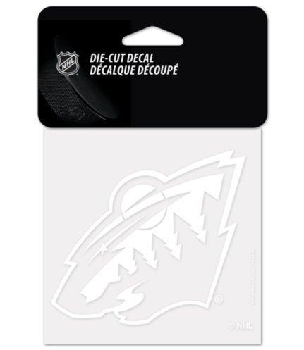 Nhl minnesota wild hockey white 4x4 inch vinyl die cut decal cling sticker new
