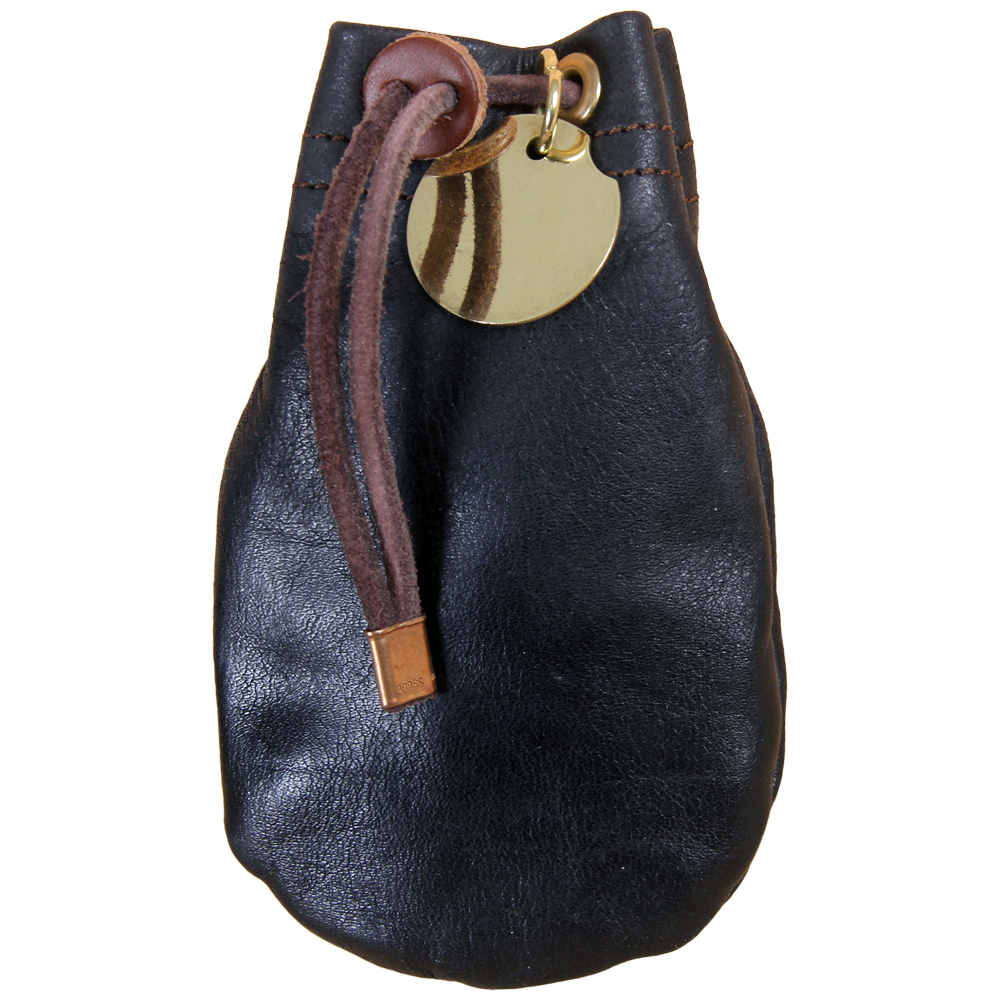 3a96d9b3 Details about Drawstring Pouch Soft, Full Grain Black Leather Coin Bag Size  Small USA Made