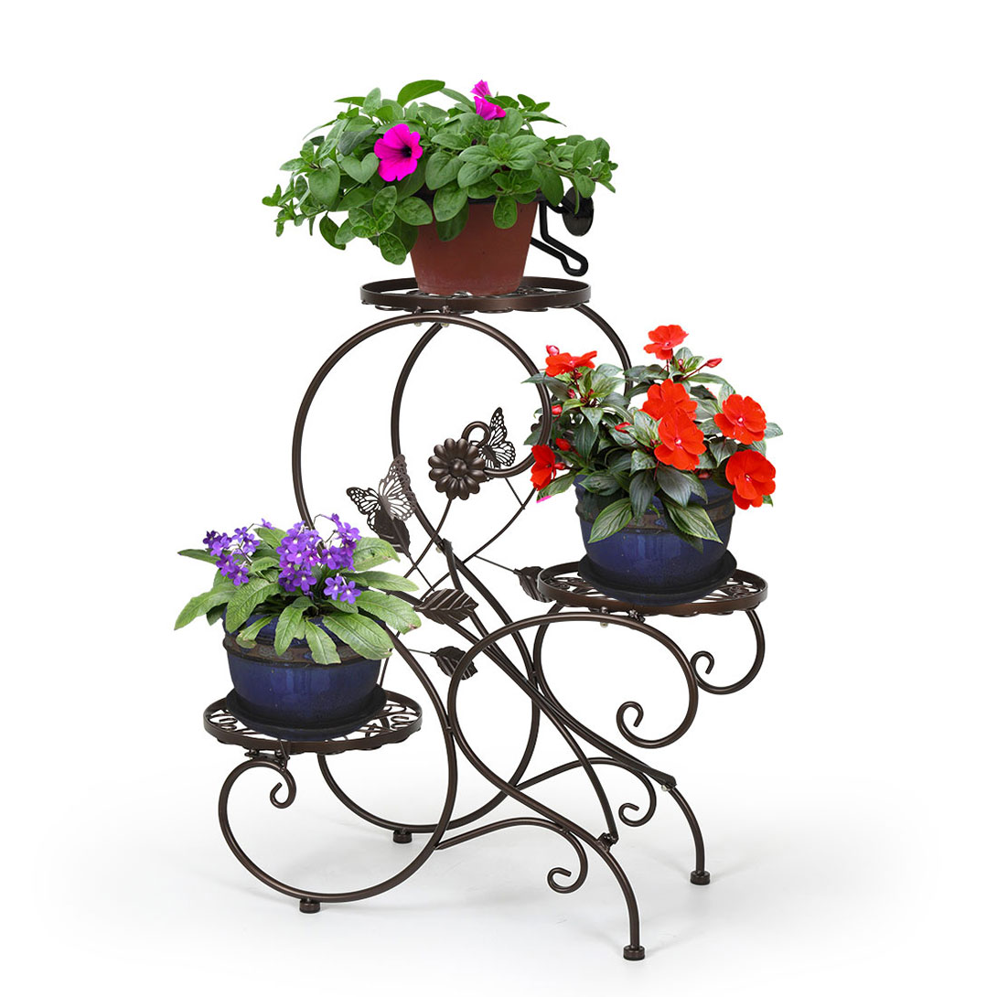 3 tier metal plant stand flower pot display holder rack for Decoration jardin metal