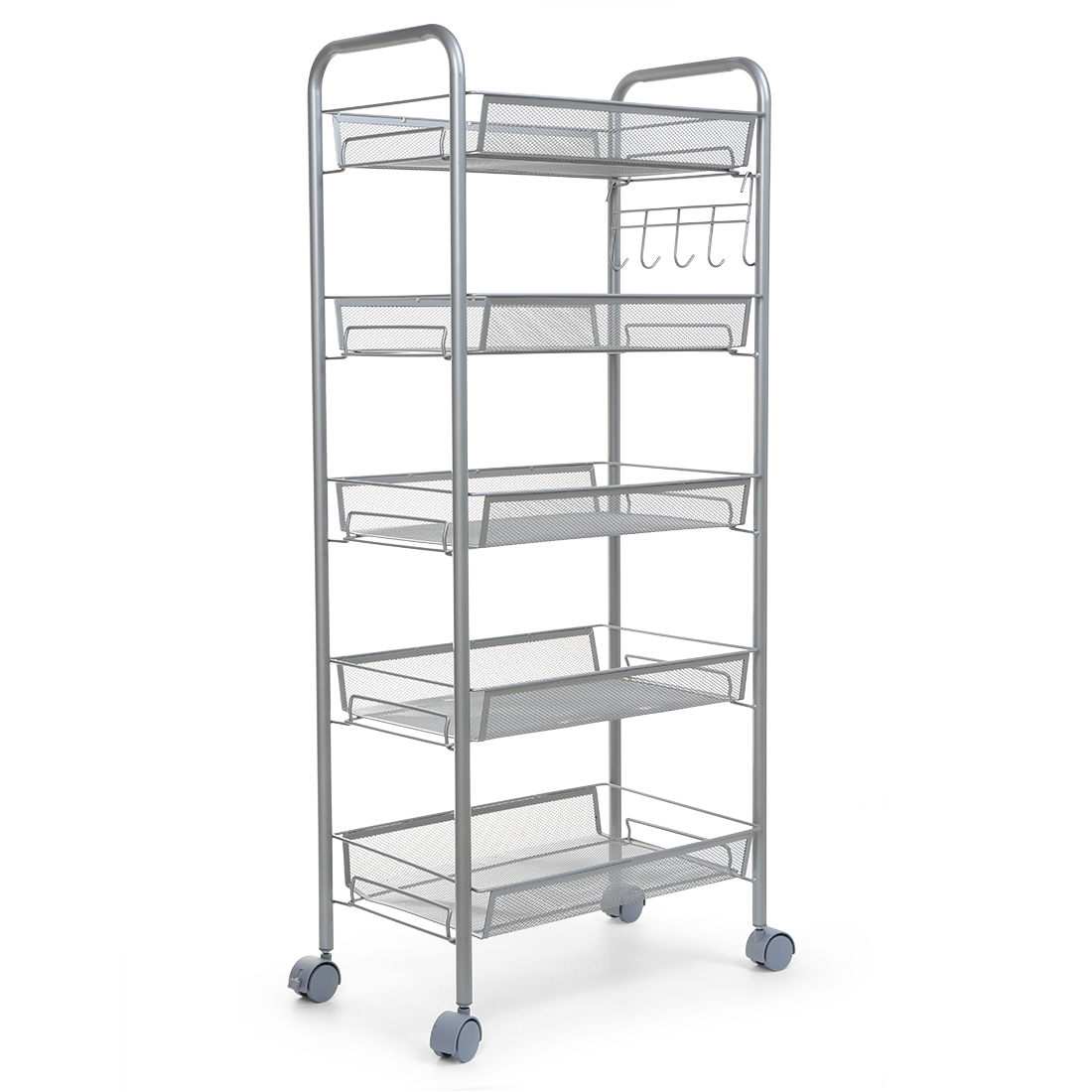 5 Tier Heavy Duty Kitchen Cart With Metal Mesh Baskets And Casters Ebay