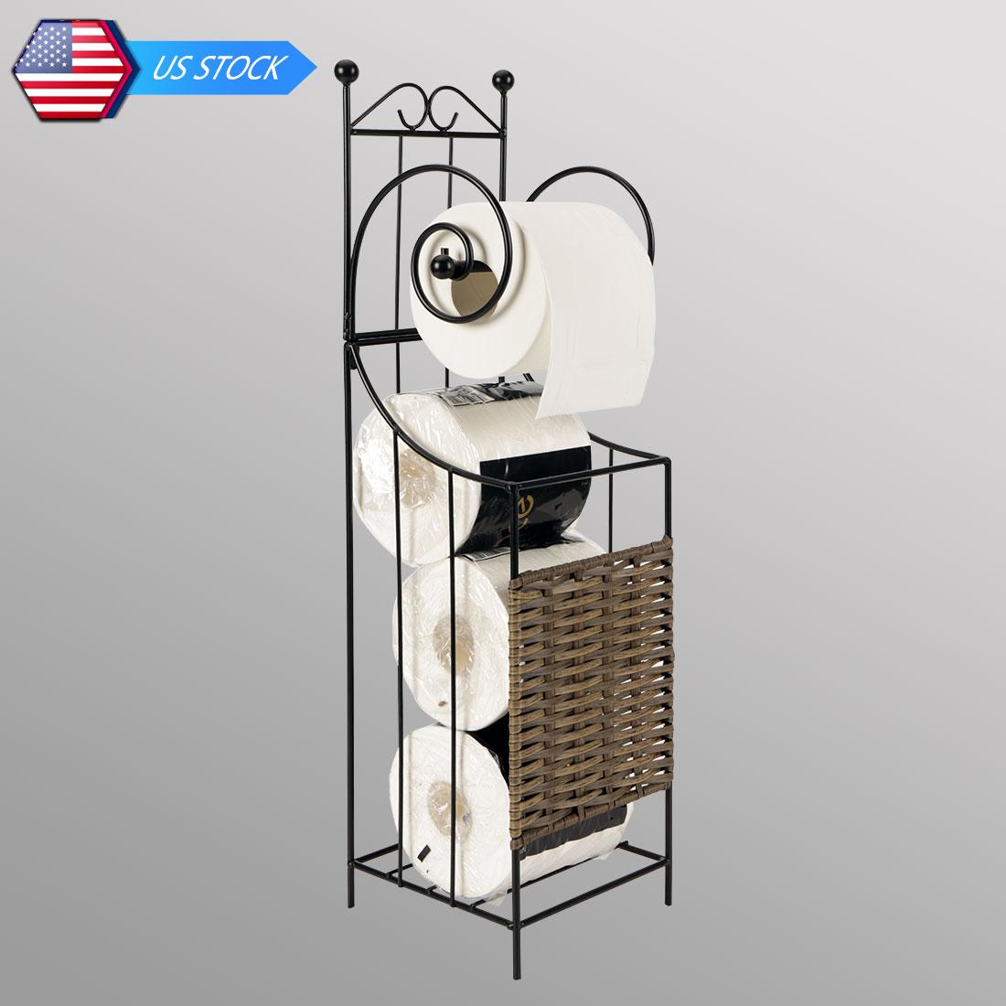 Metal Frame Toilet Tissue Paper Roll Holder Stand Shelf