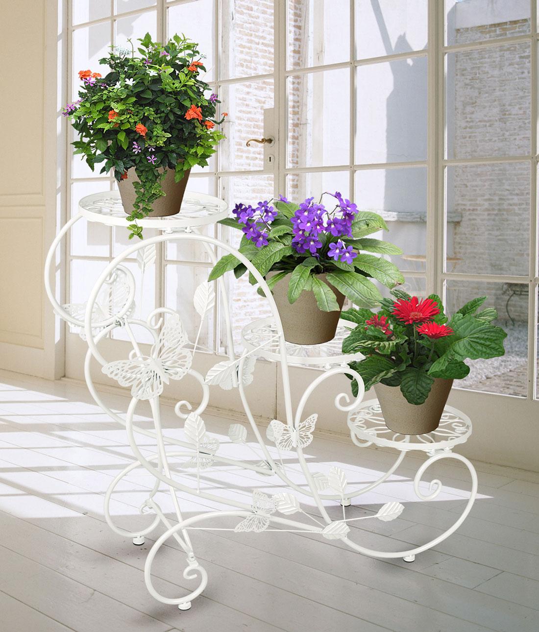Porte-Pots-Plantes-Fleurs-3-Etagere-Support-Jardin-Metal-Fer-Noir-Bronze-Blanc