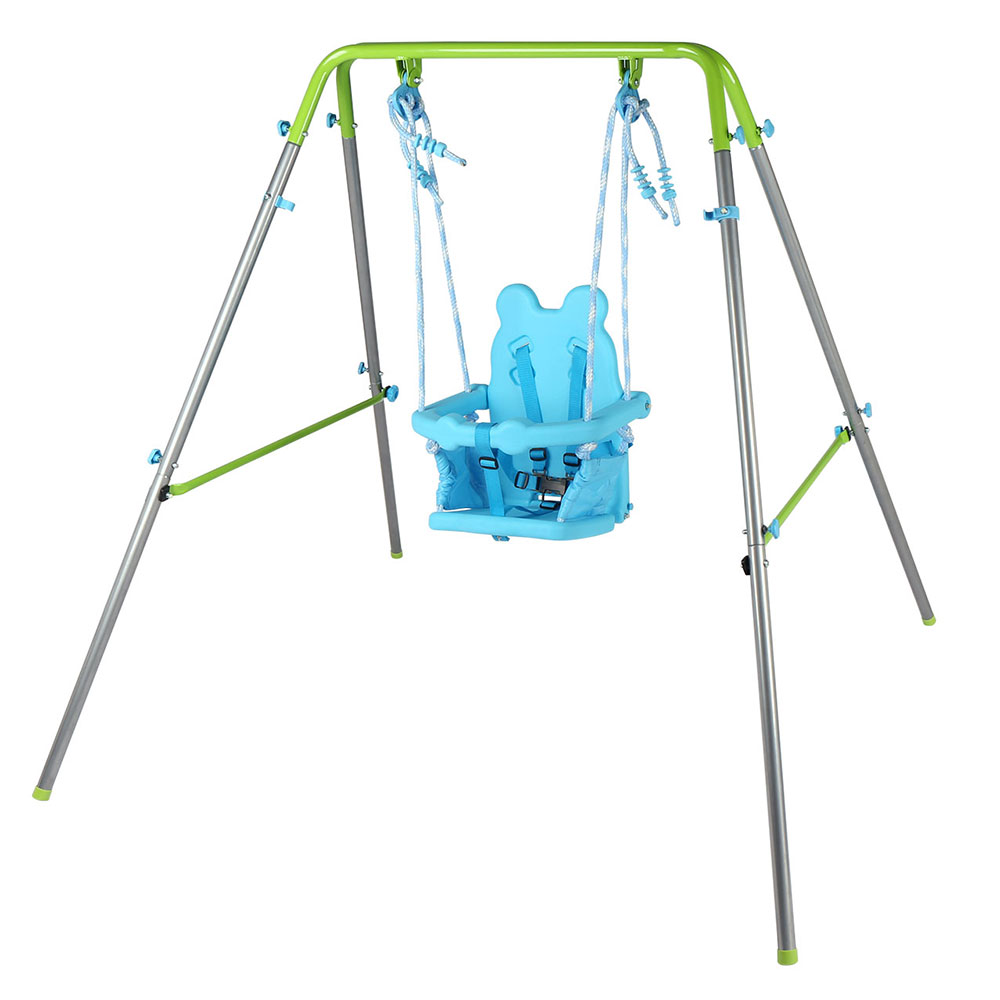 Portable folding metal frame baby toddler swing blue with for Indoor swing seat