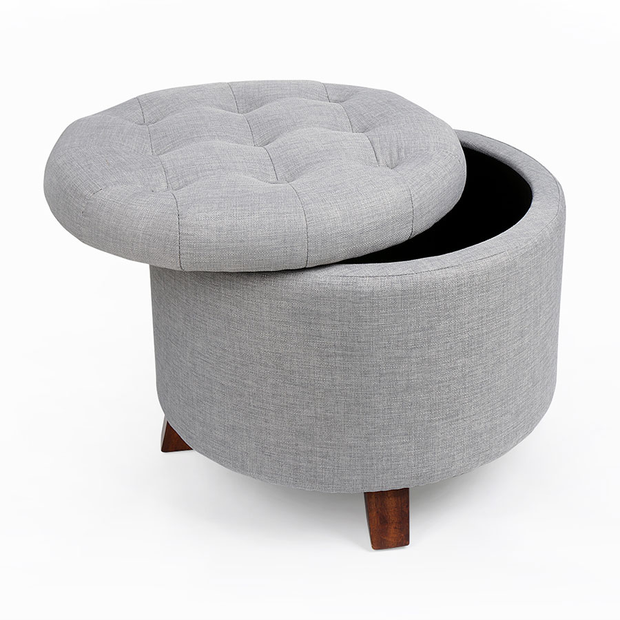 Round Footstool Seat Storage Ottoman Stool With Button