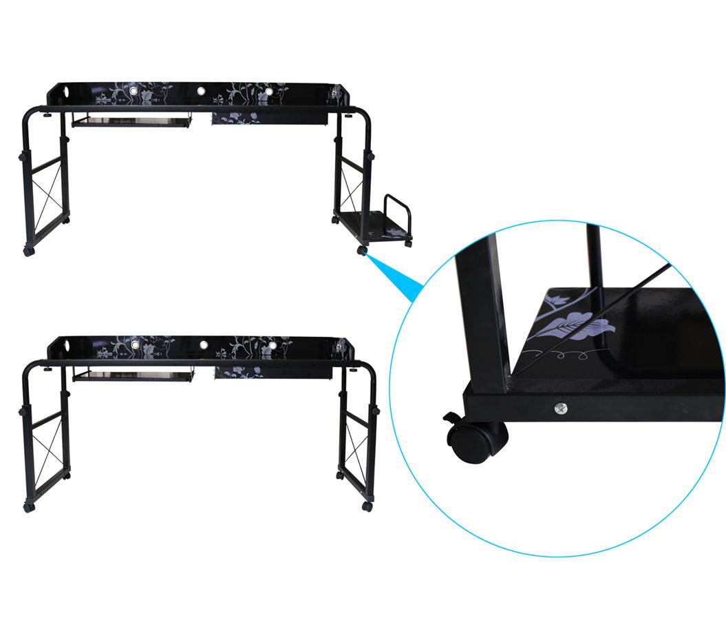 Altezza e lunghezza regolabile scrivania del computer con ruote sopra il letto ebay - Tastiera del letto ...